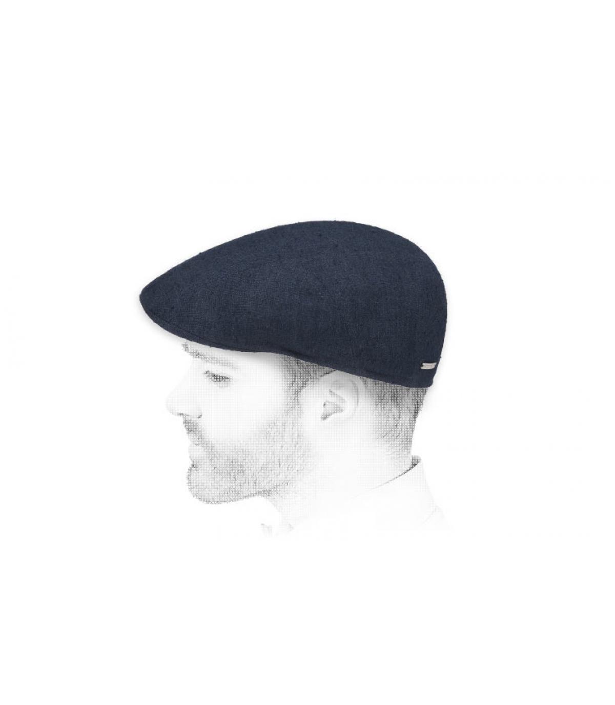 gorra azul lino seda