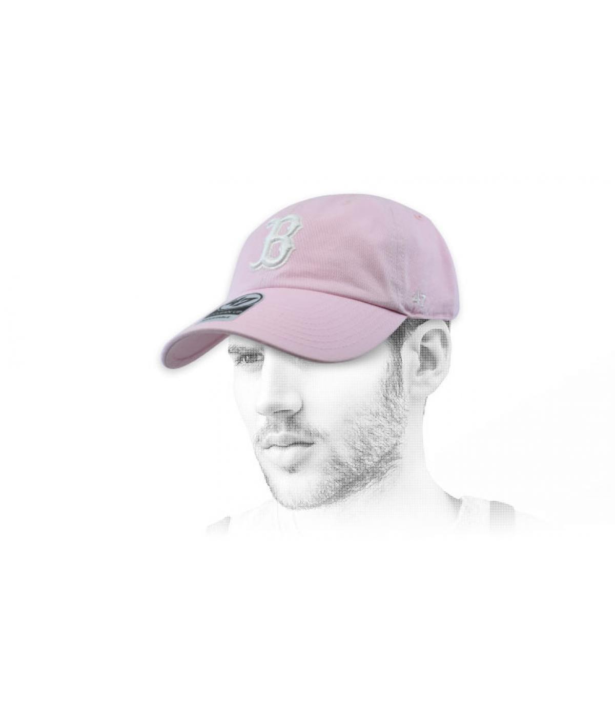 gorra B rosa palido