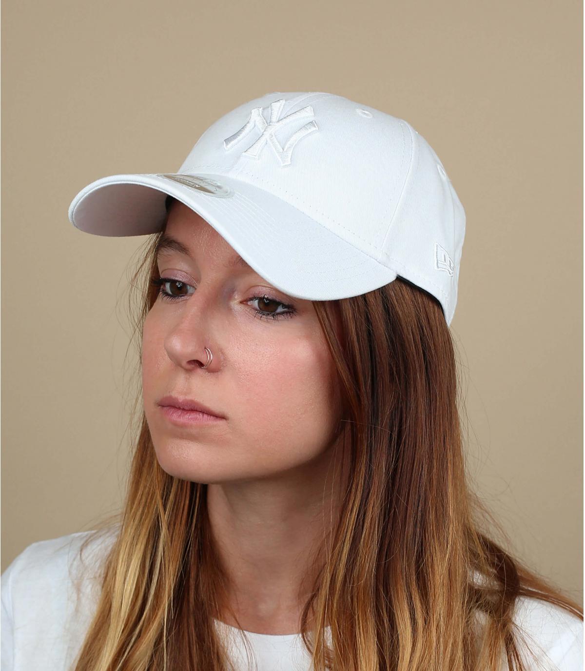 gorra NY blanco mujer