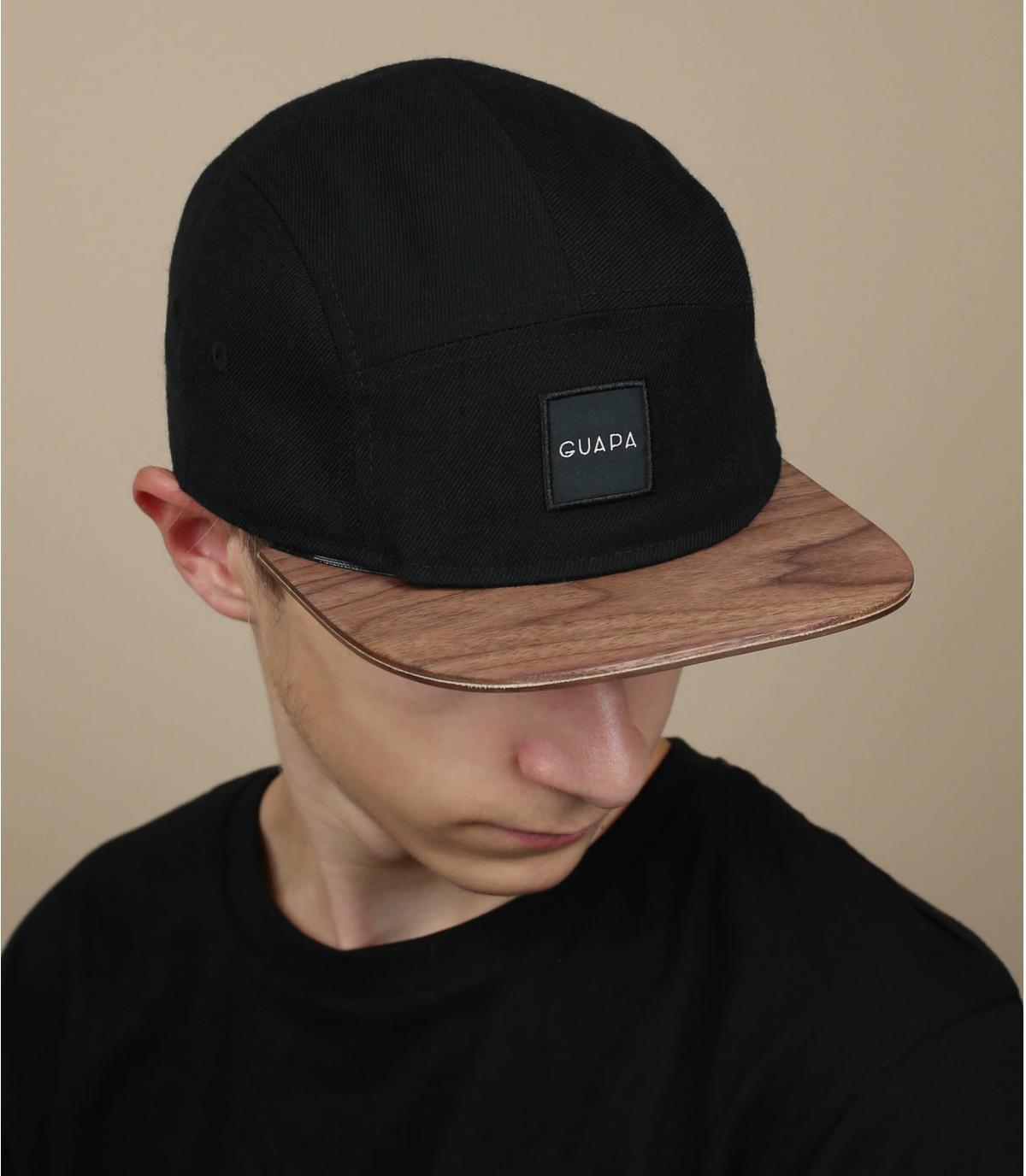 gorra 5 panel negro madera