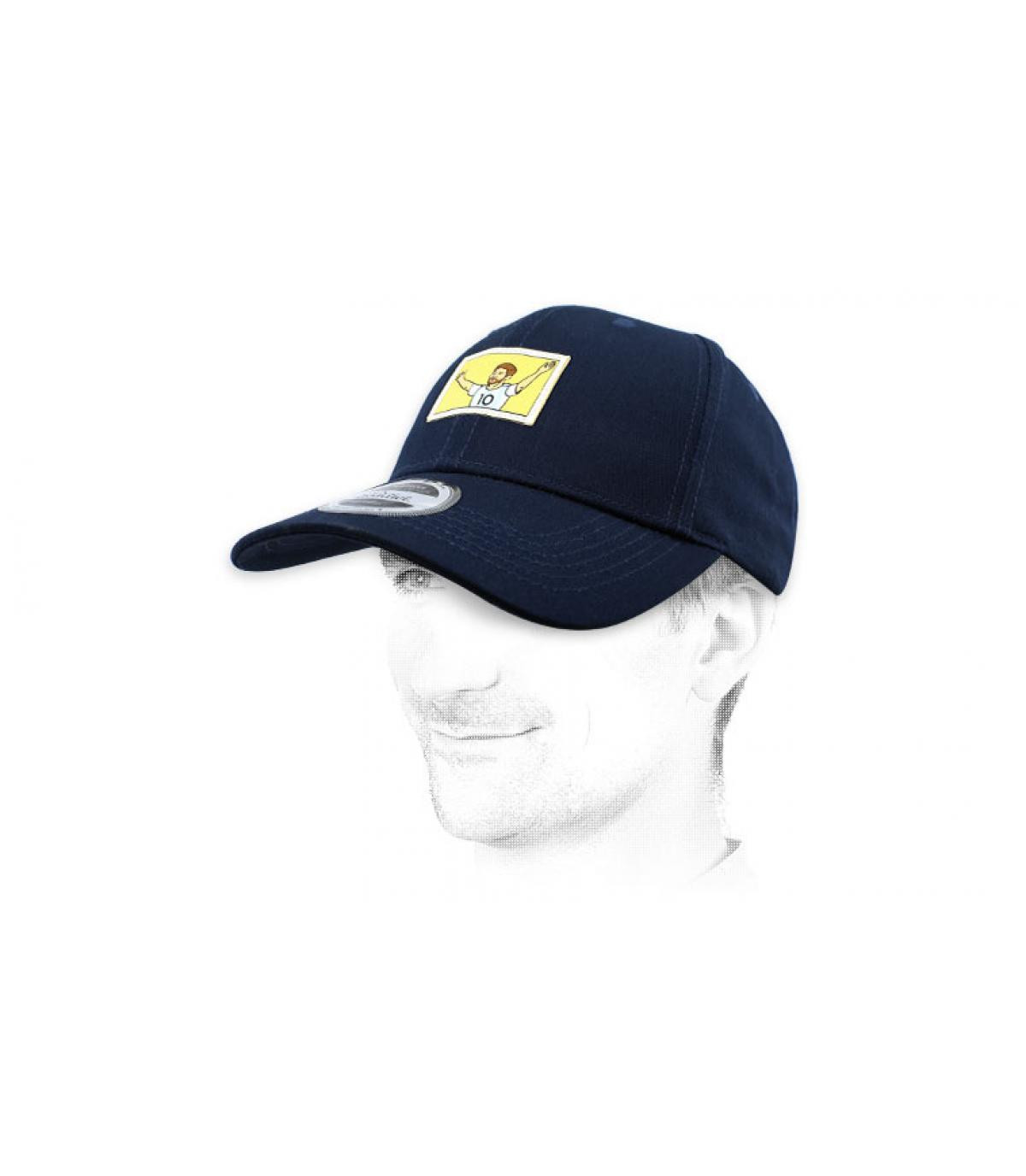 gorra azul fútbol gol