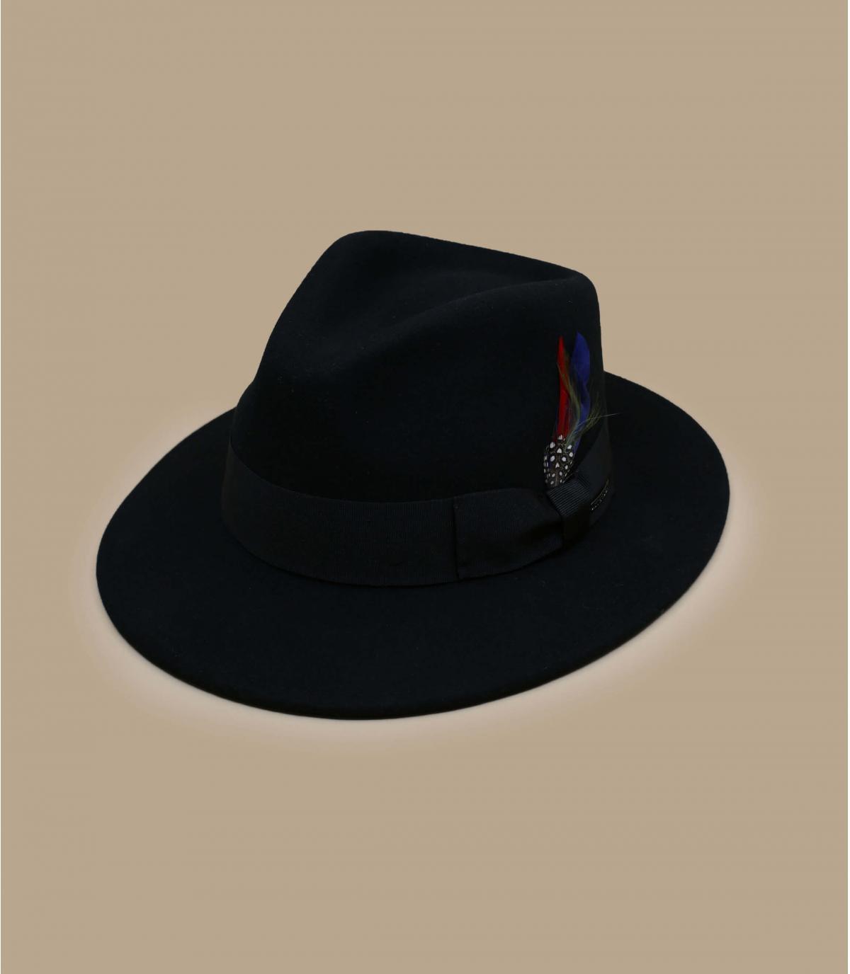 fedora negro cachemira lana