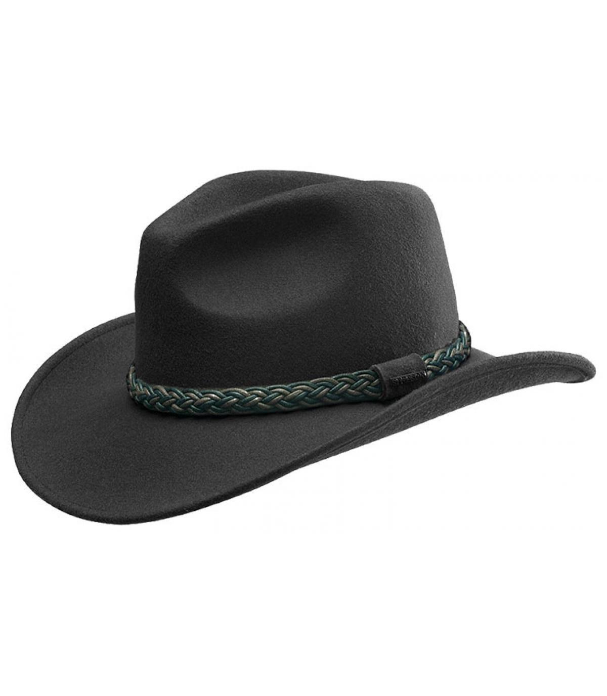 sombrero vaquero negro fieltro - Western Oxnard Woolfelt black Stetson  imagen 1 ... fe7d6bb41e1