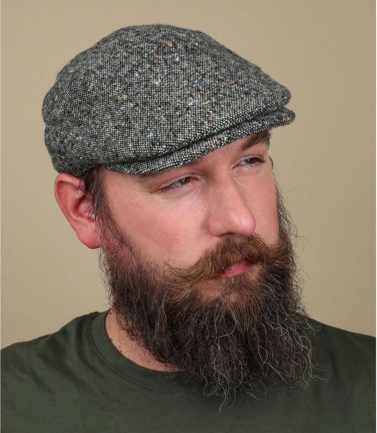 gorra gris jaspeado lana