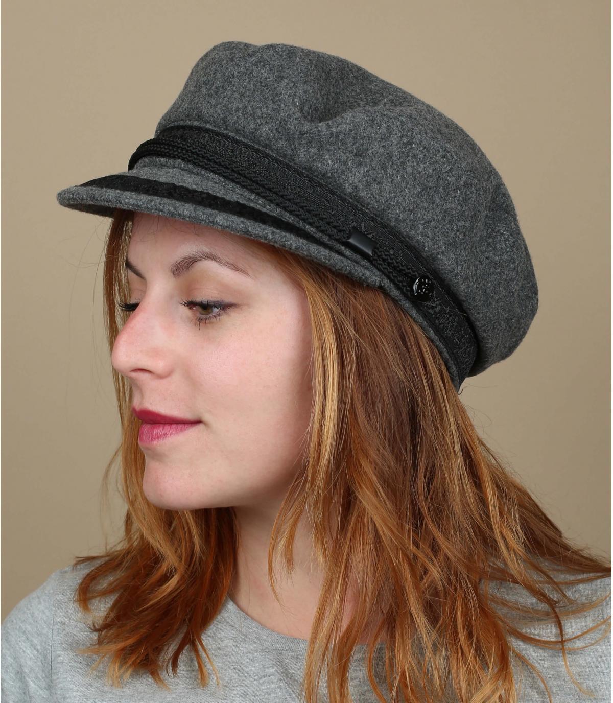 gorra marinera gris claro lana