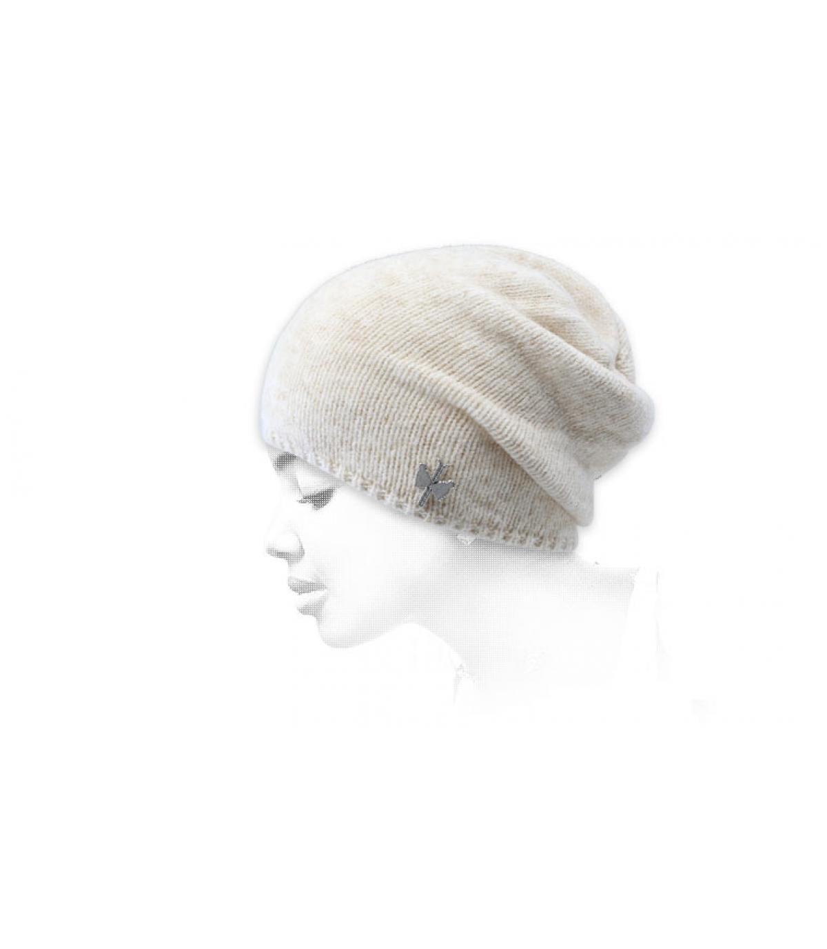 gorro largo beis lana