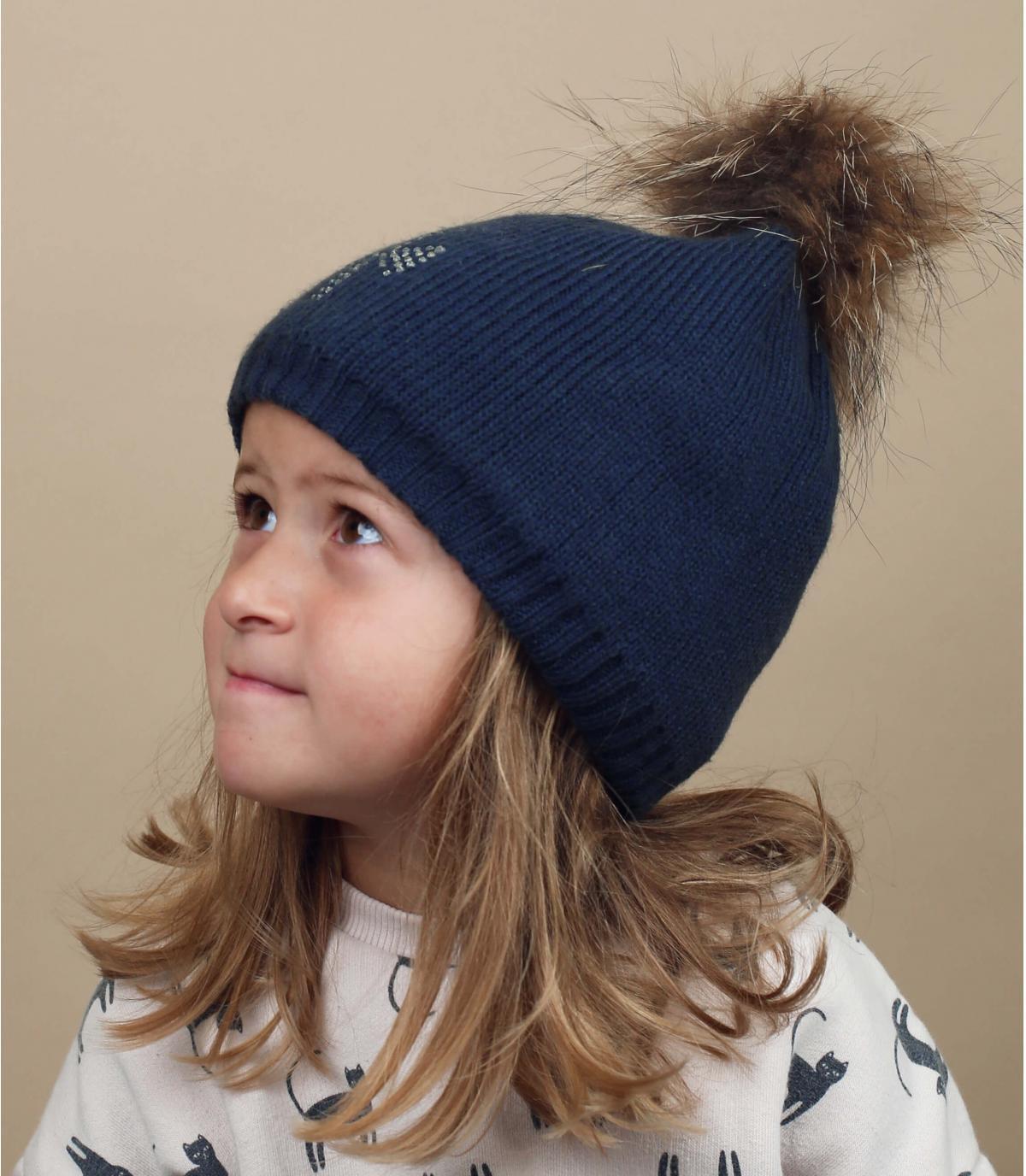 gorro niña azul marino pompóm pelo