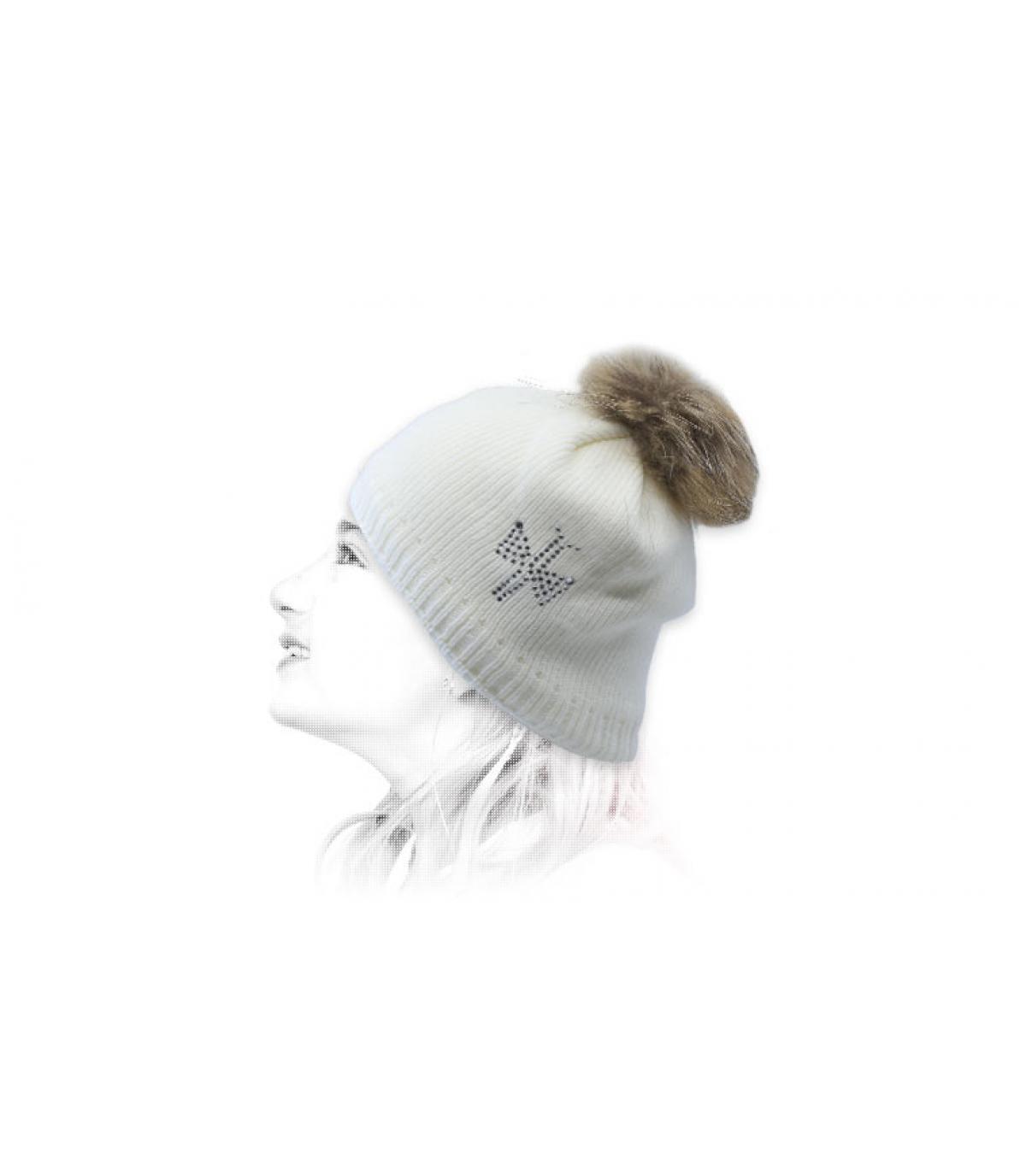 gorro niña blanco pompóm pelo