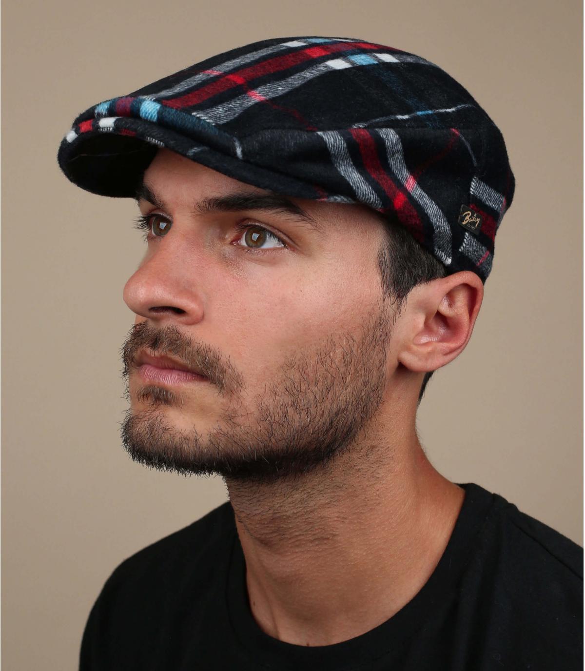 gorra cuadros verde lana