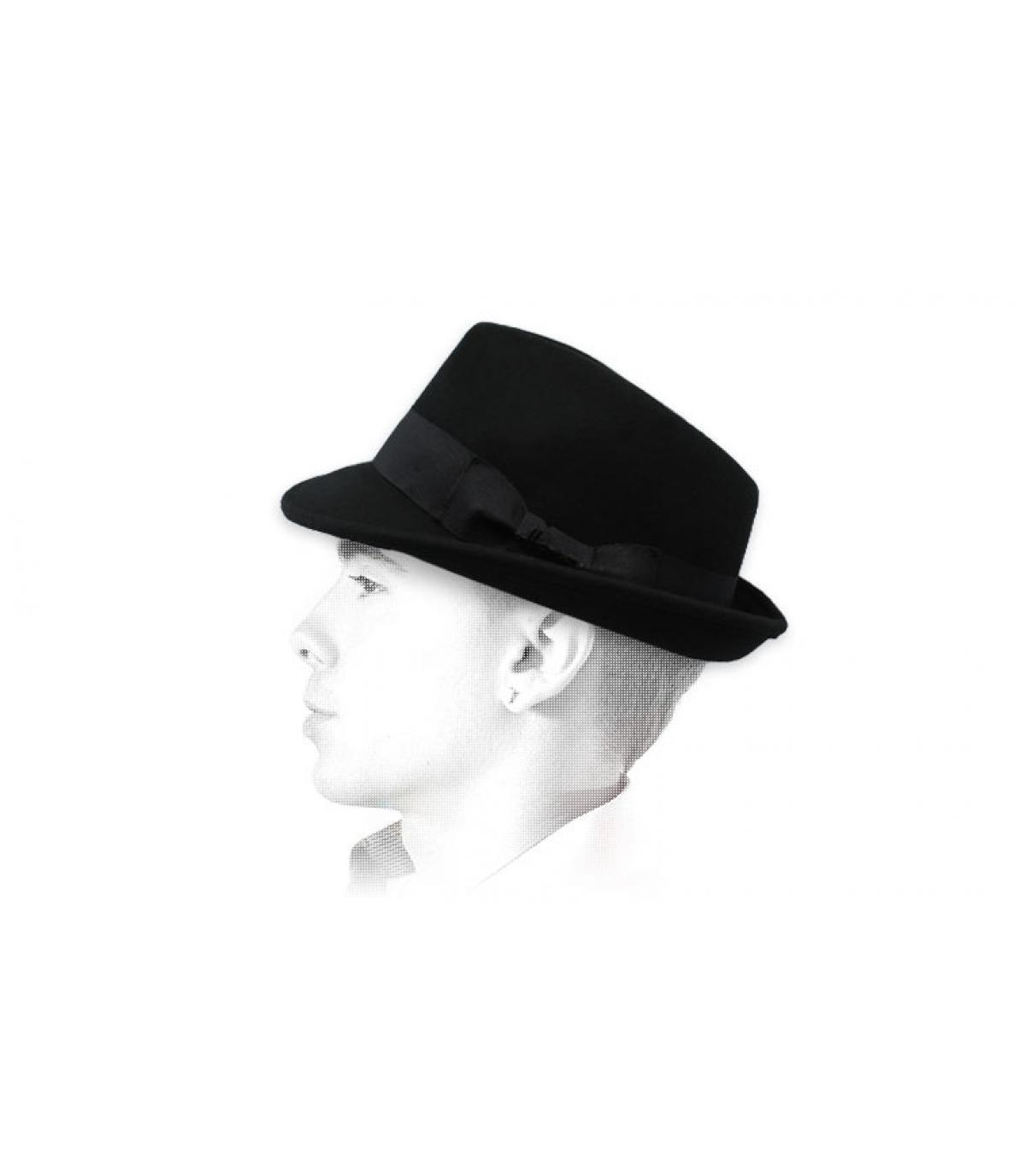 trilby negro fieltro Herman