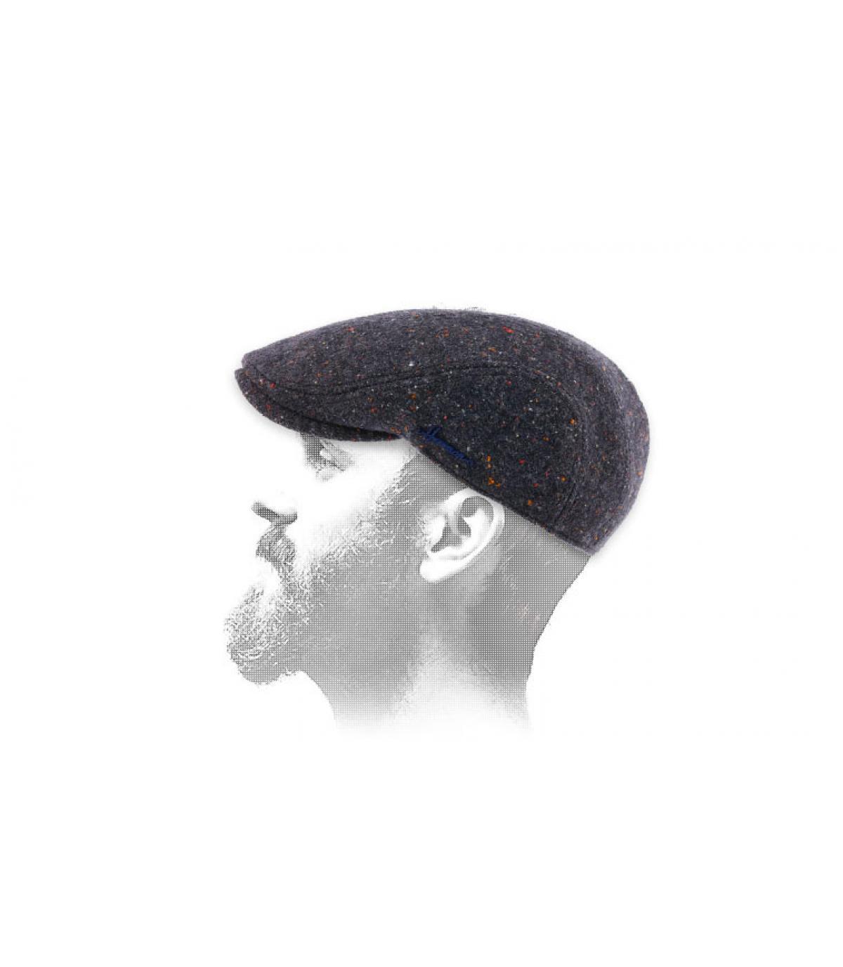 gorra azul jaspeado lana