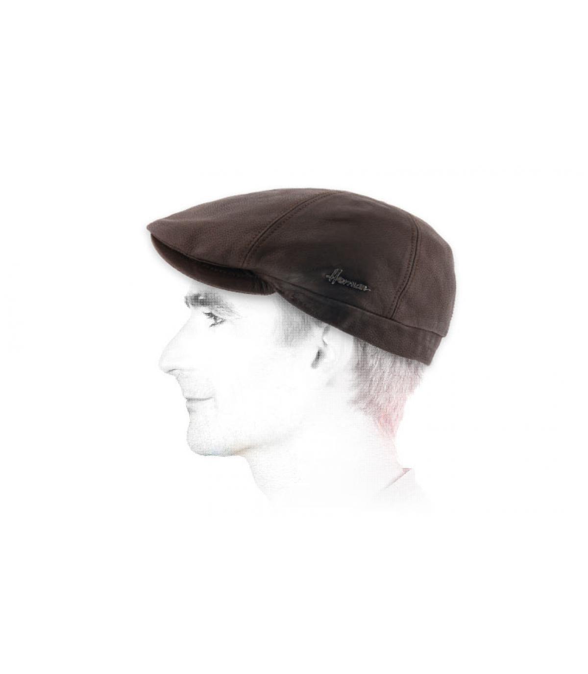 gorra cuero marrón