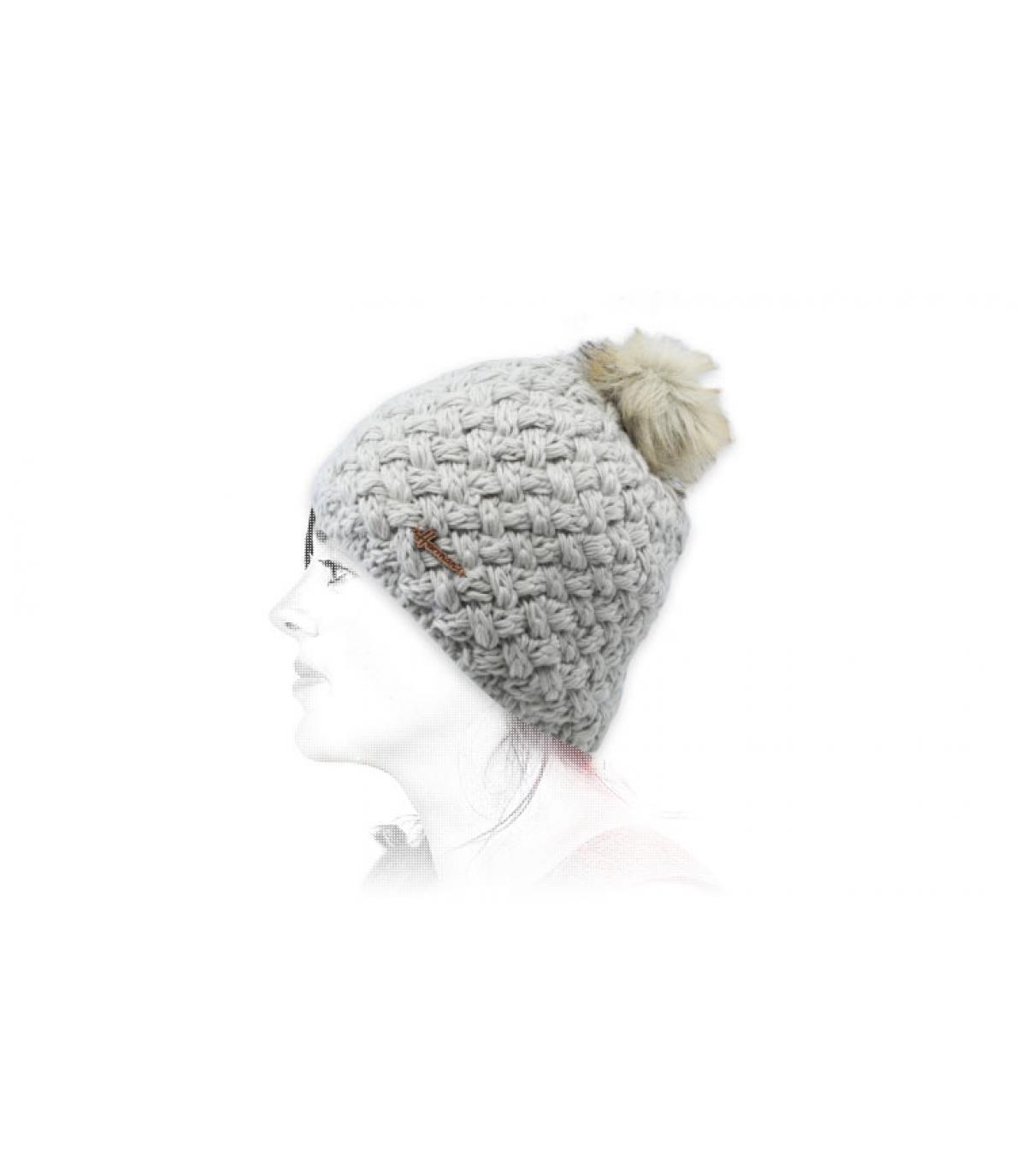 gorro lana gris pelo