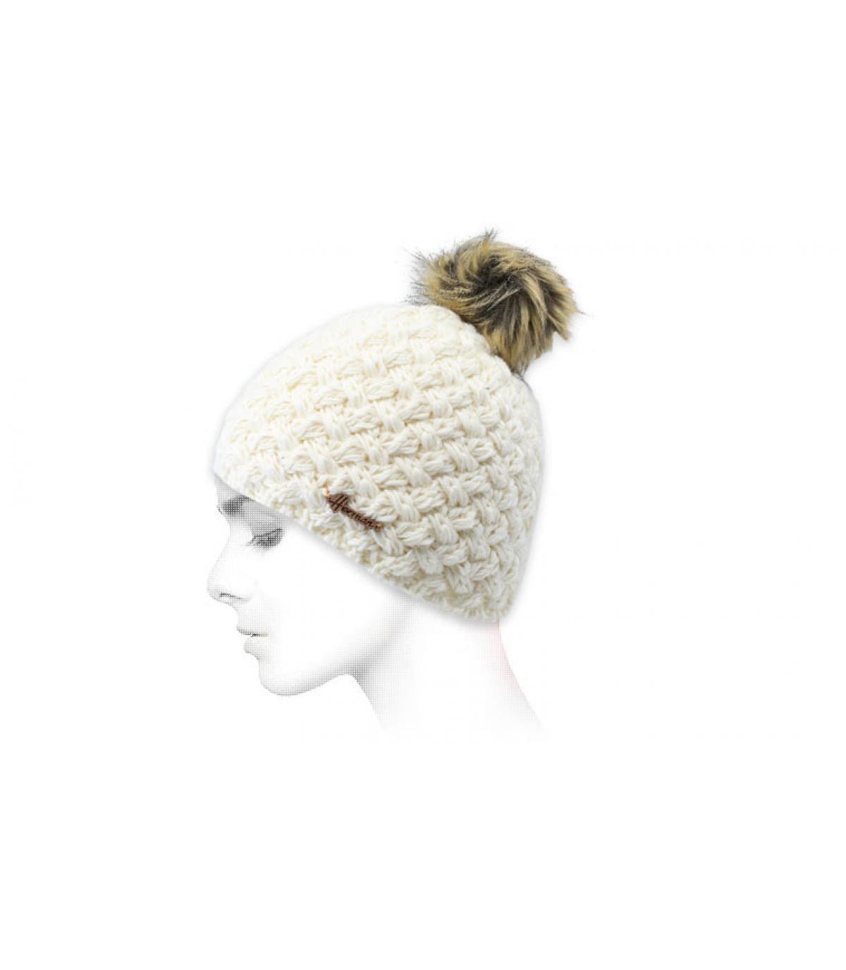 gorro lana blanco pelo