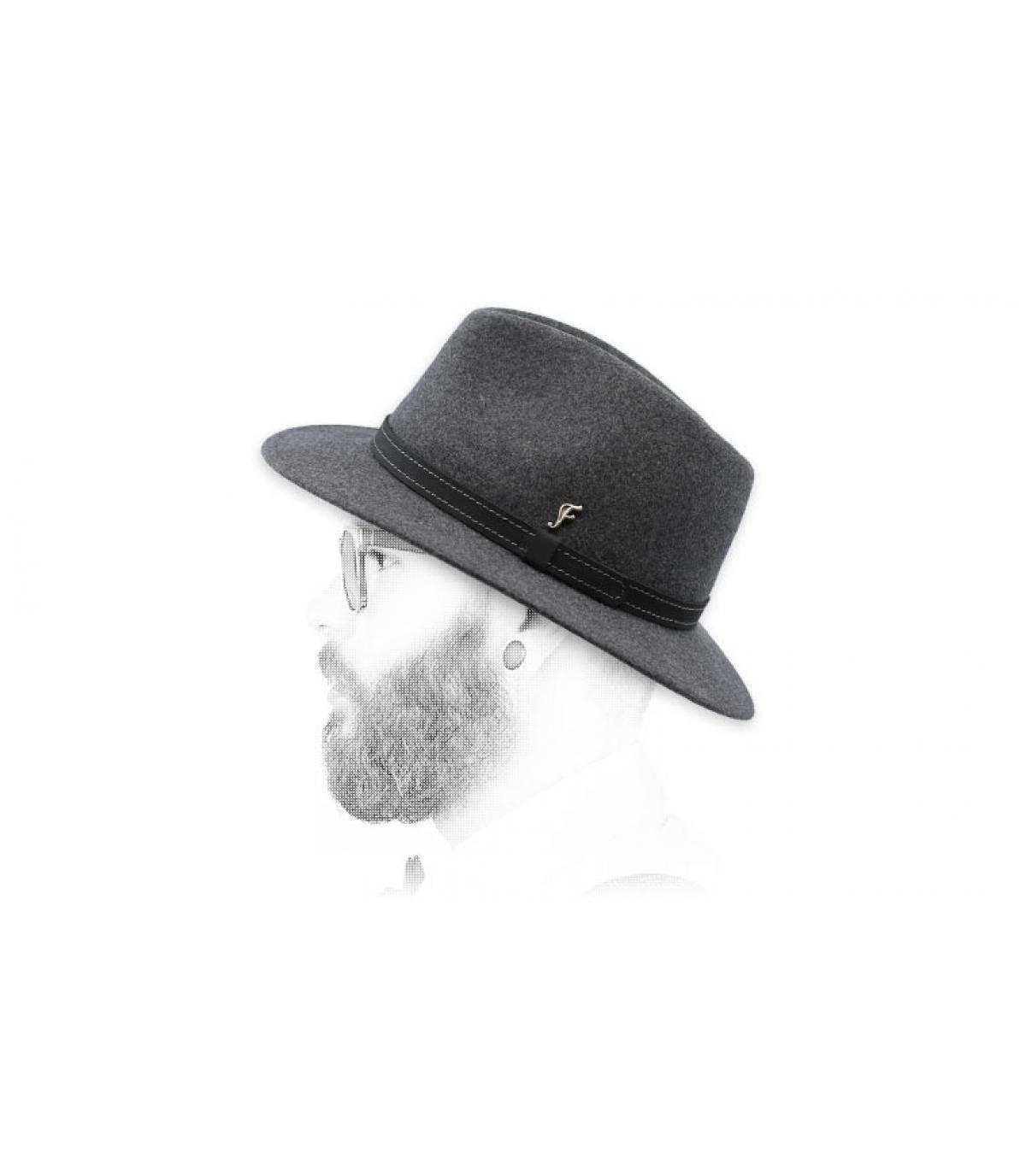fedora gris jaspeado lana