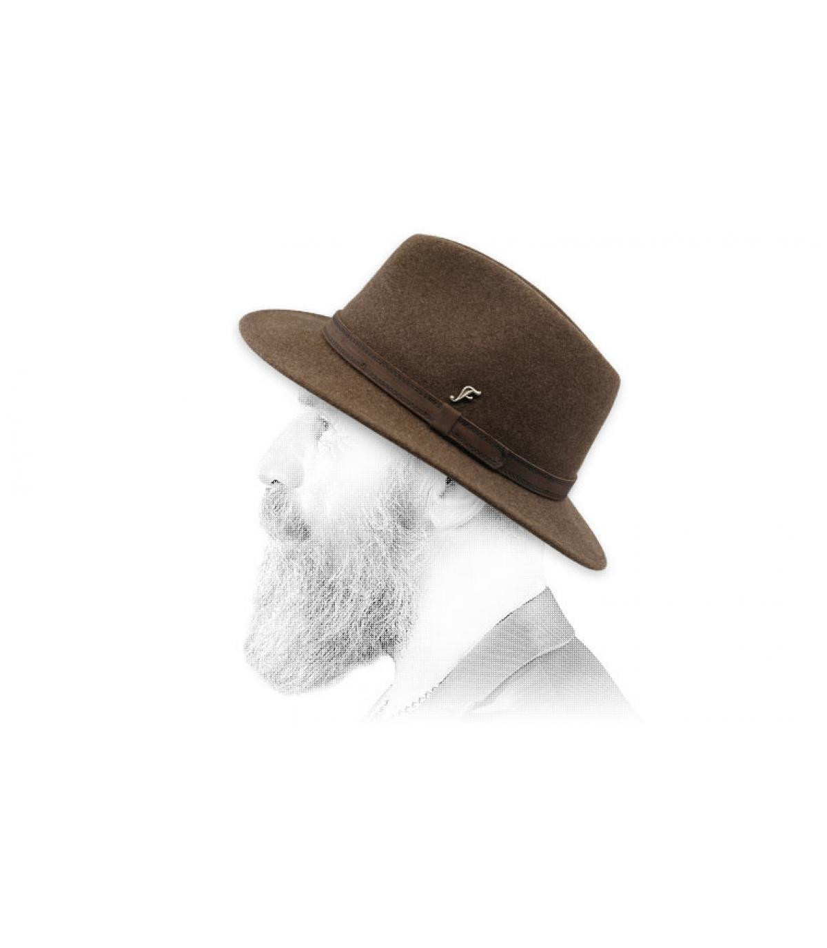 fedora marrón jaspeado lana