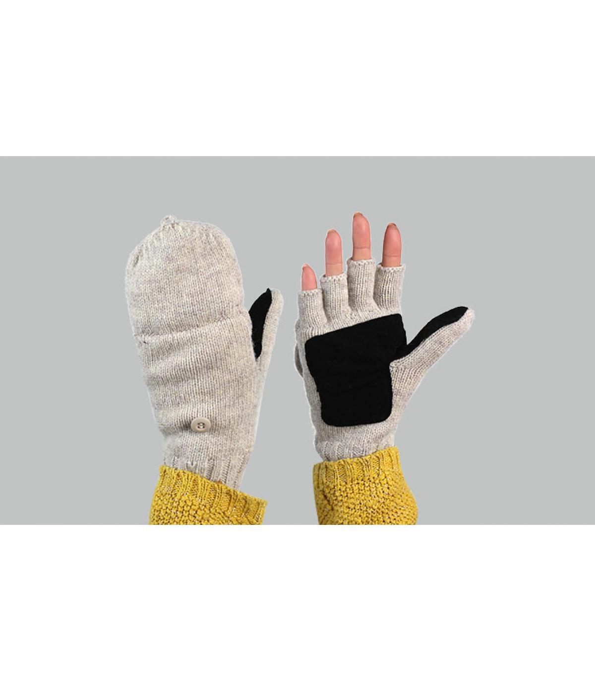 guantes manoplas mujer gris