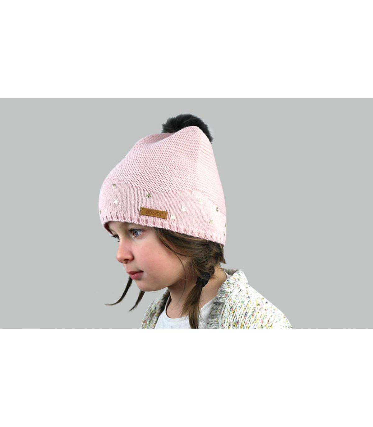gorro rosa niña pompón pelo