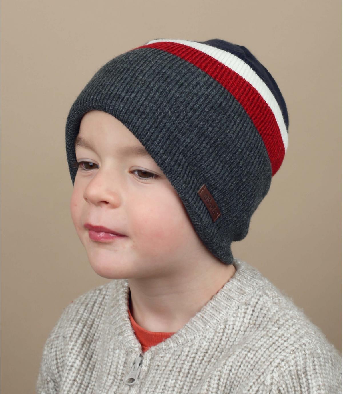 gorro niño gris azul rojo