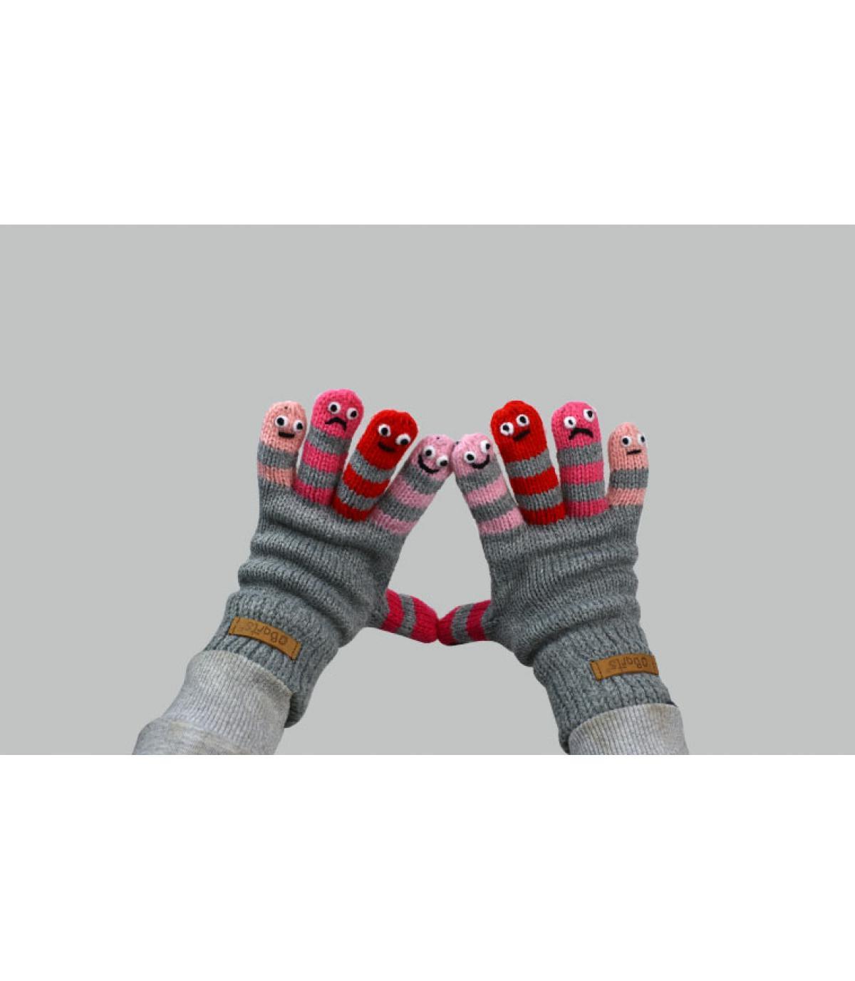guantes gris rosa niña