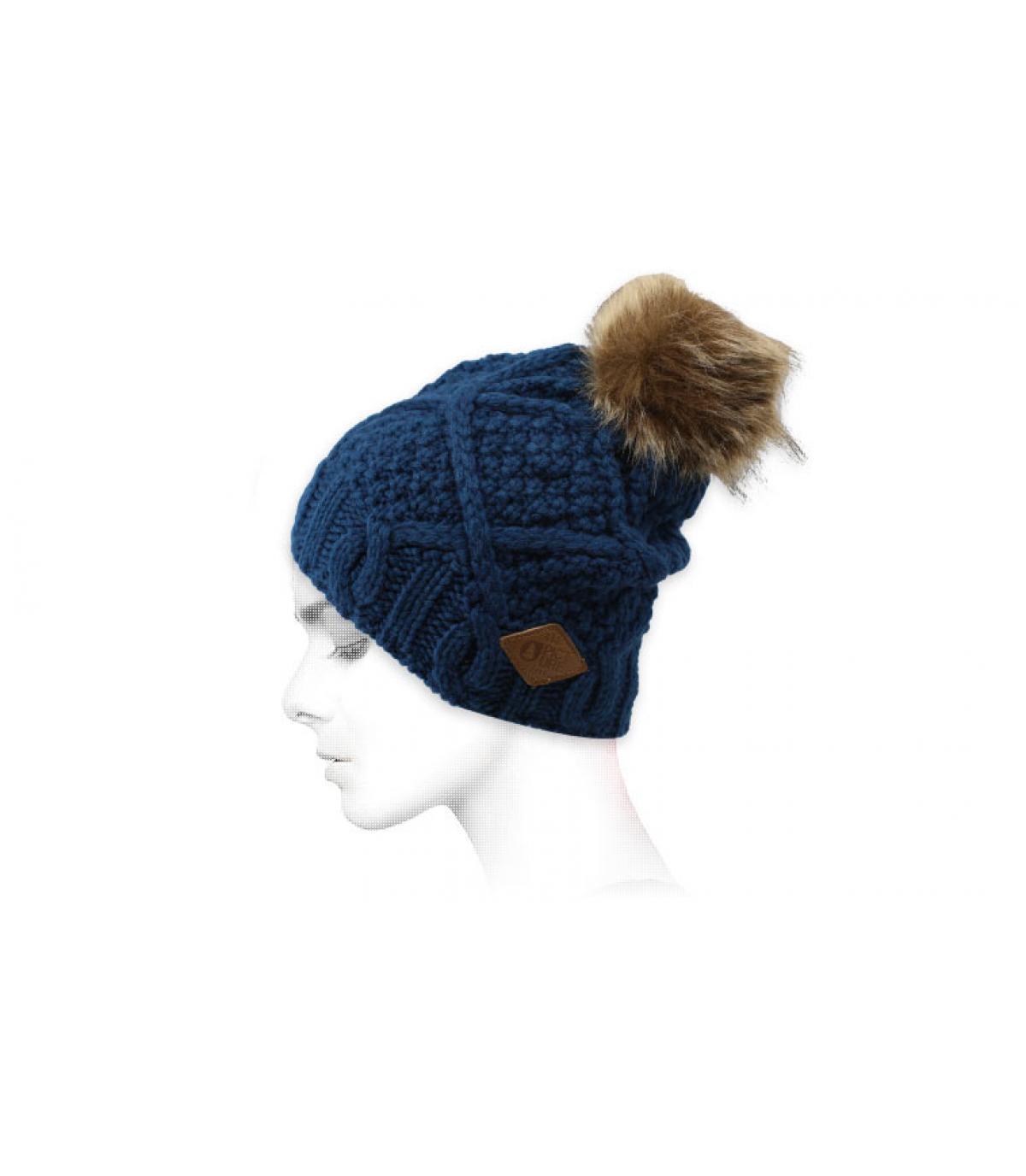 gorro azul pompóm pelo