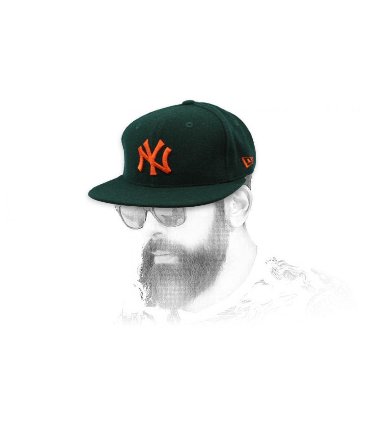 snapback NY verde naranja lana
