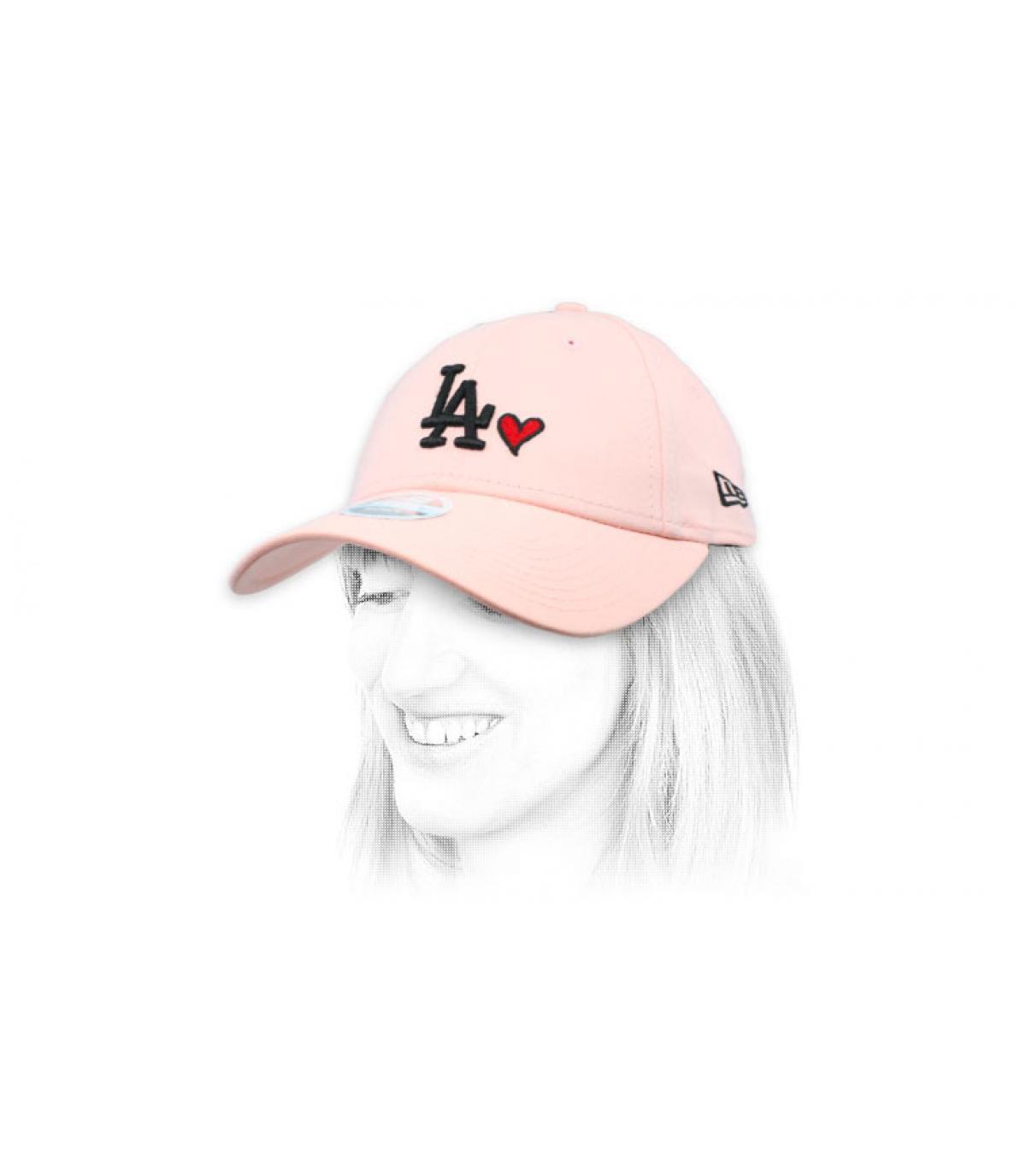 gorra mujer LA corazón rosa