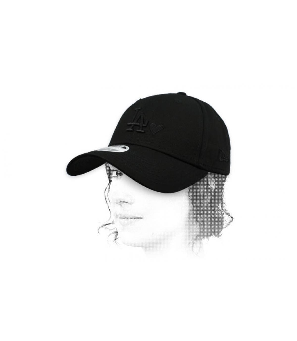 gorra mujer LA corazón negro