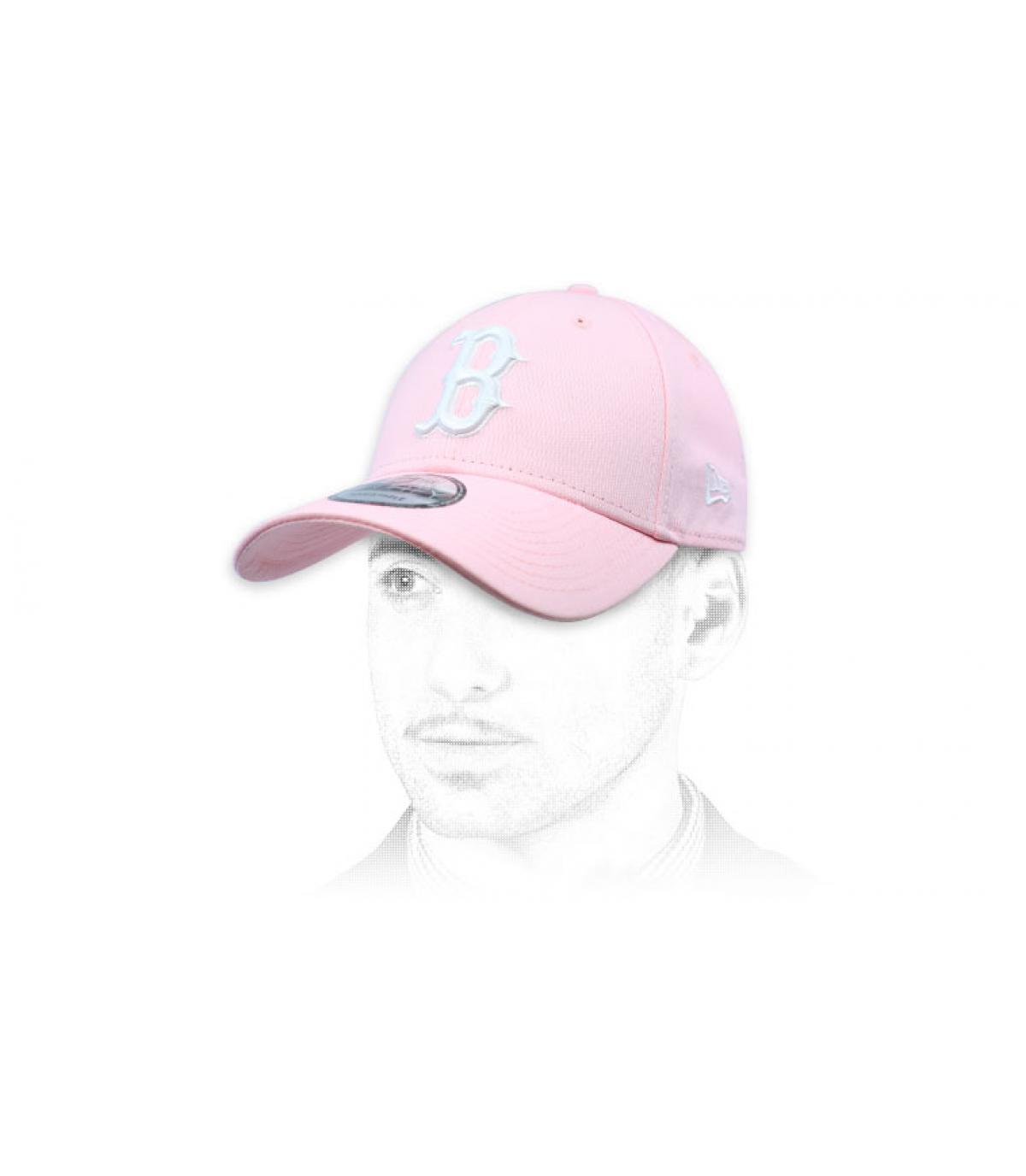 gorra B rosa blanco