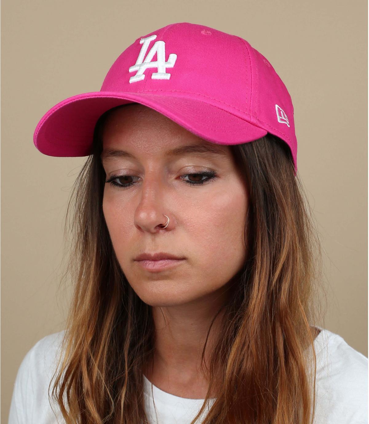 gorra LA mujer rosa