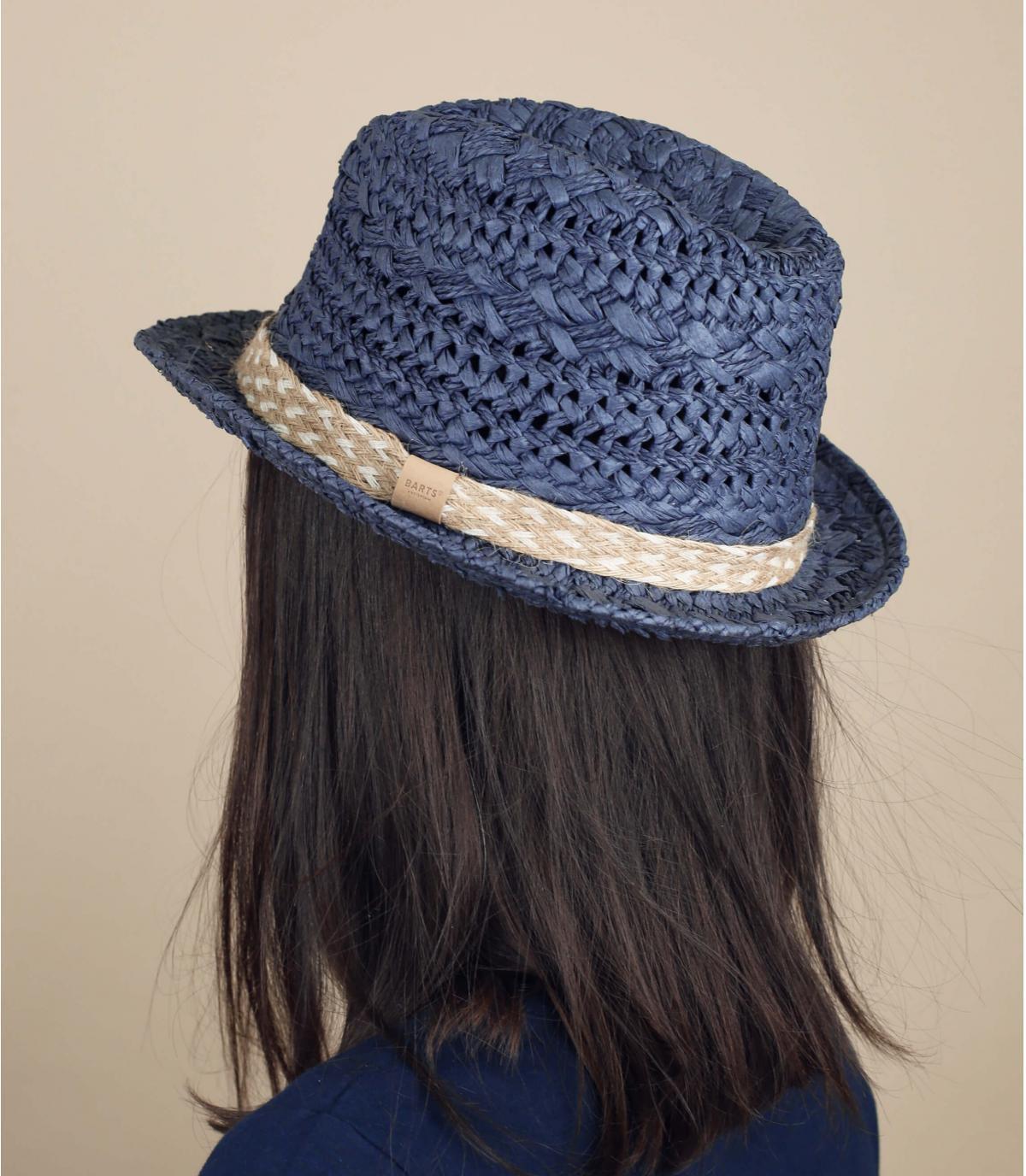 sombrero trilby paja azul