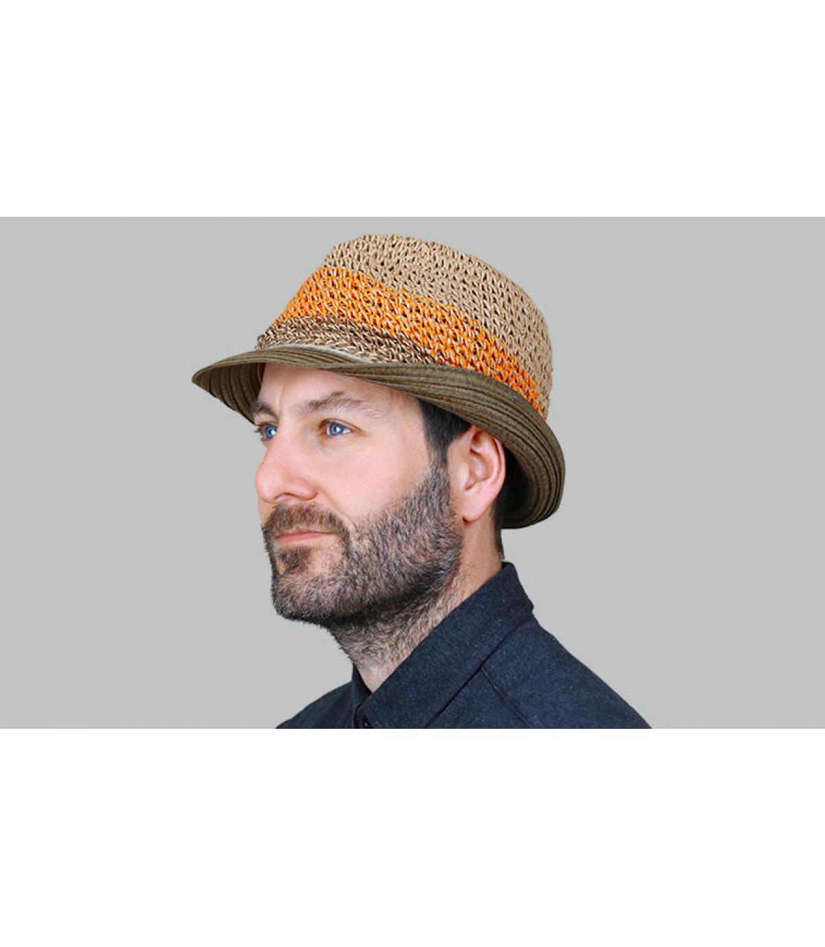 sombrero trilby paja rayas