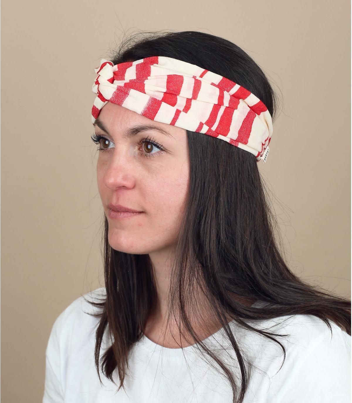 cinta pelo rayas rojo blanco