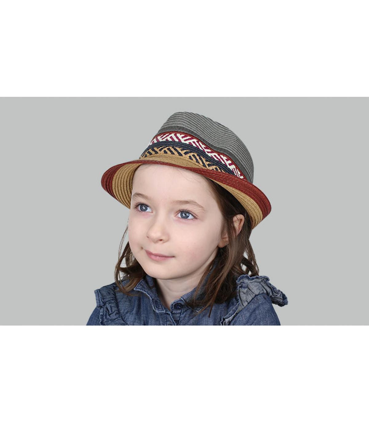 sombrero paja niño gris granate