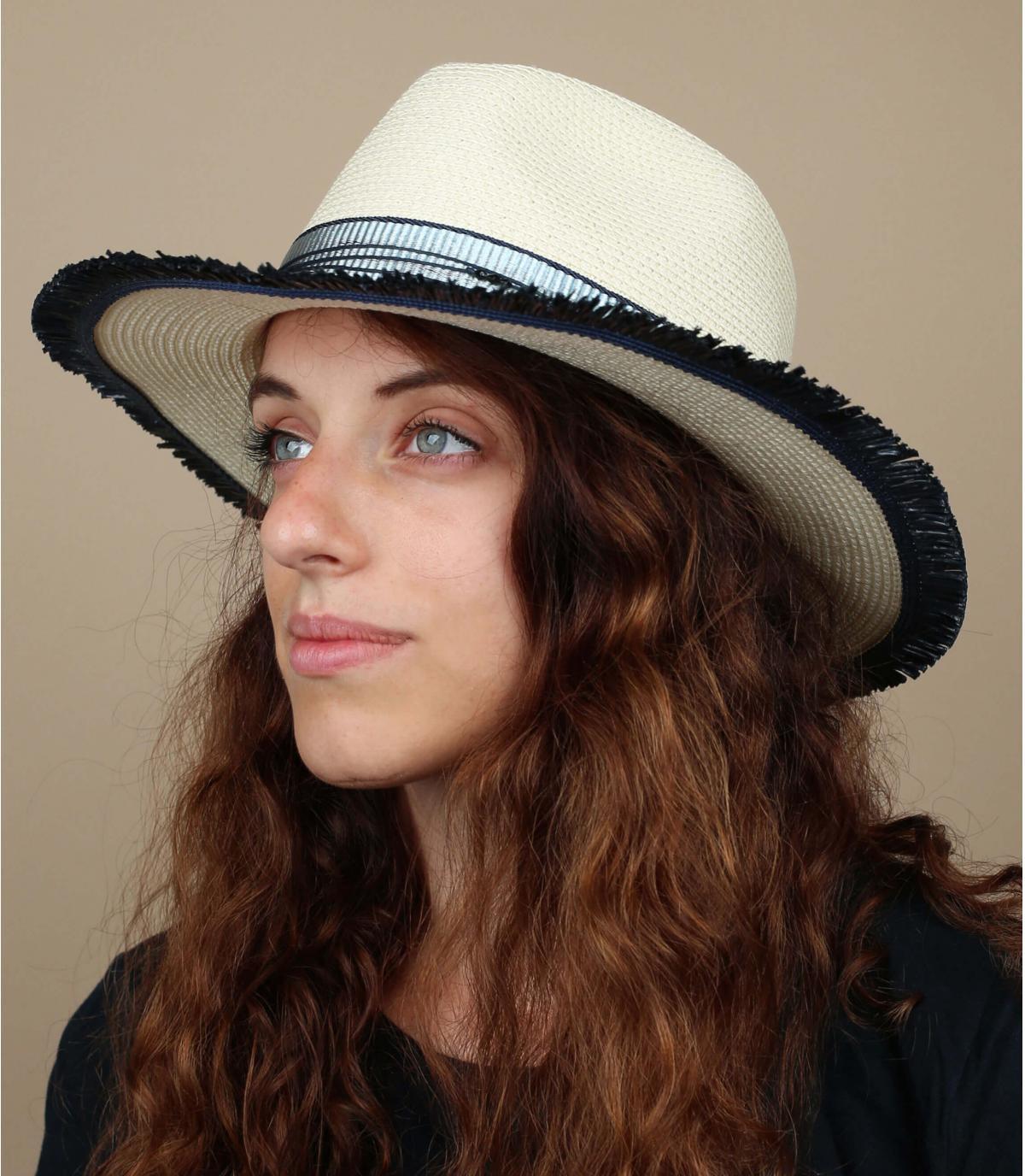 sombrero paja blanco azul