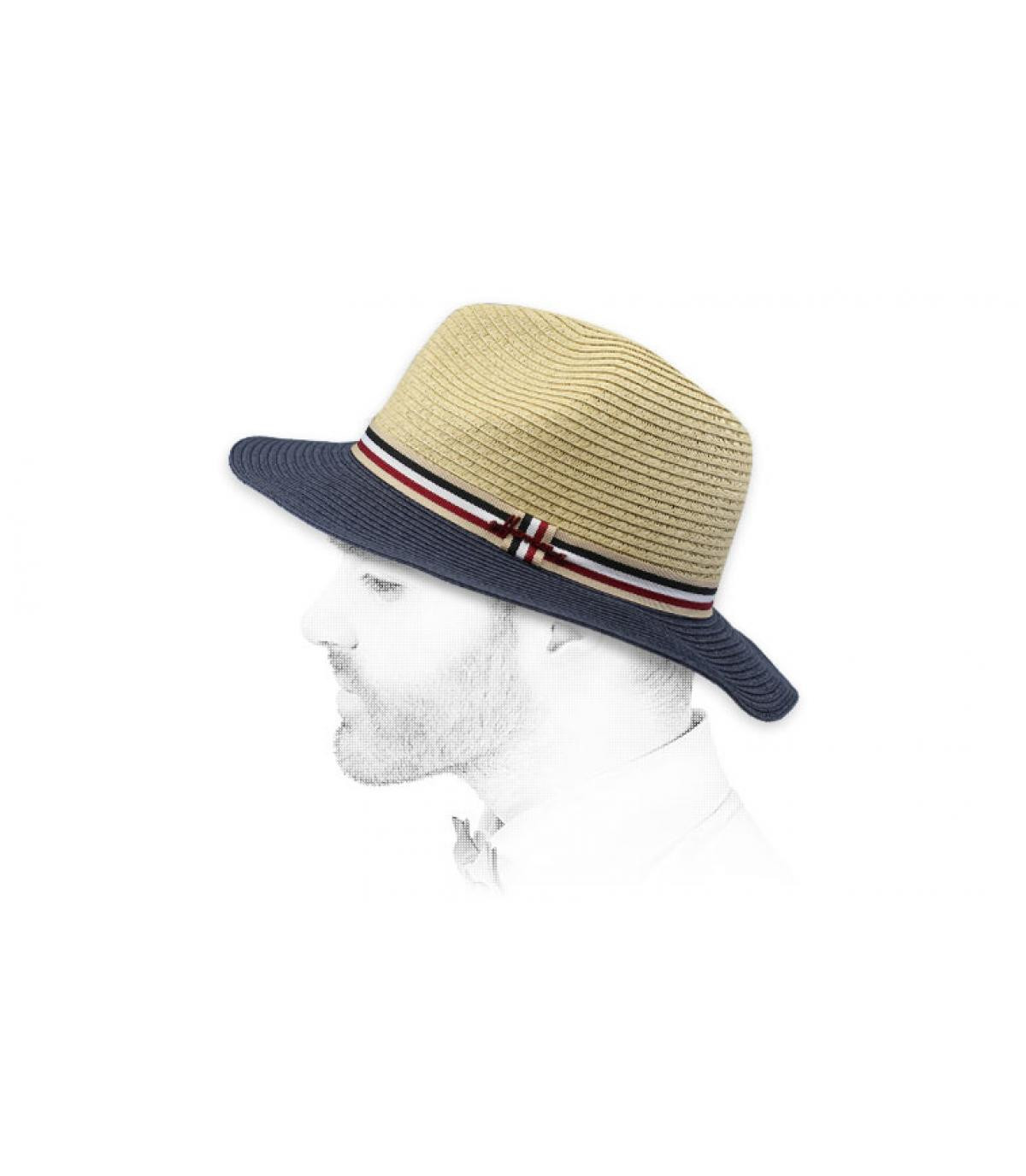 sombrero beis azul paja