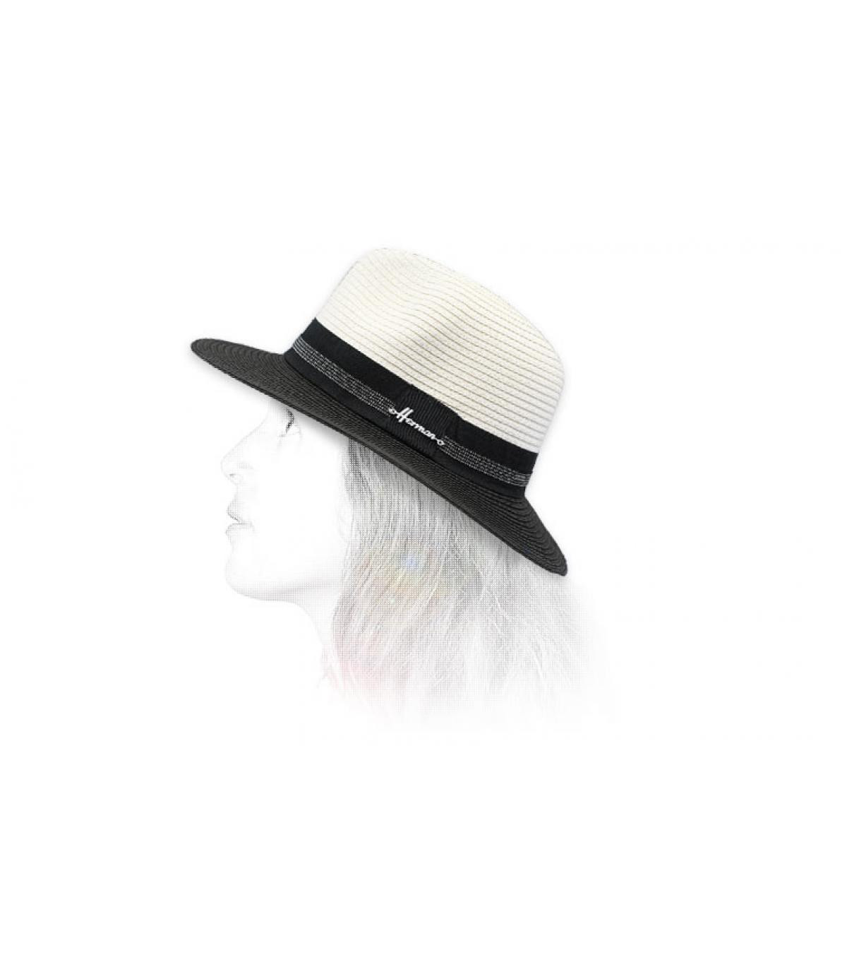 sombrero negro blanco paja