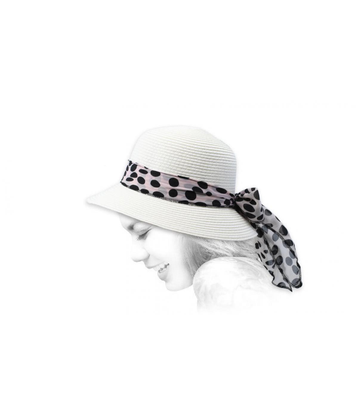 sombrero cloche blanco paja