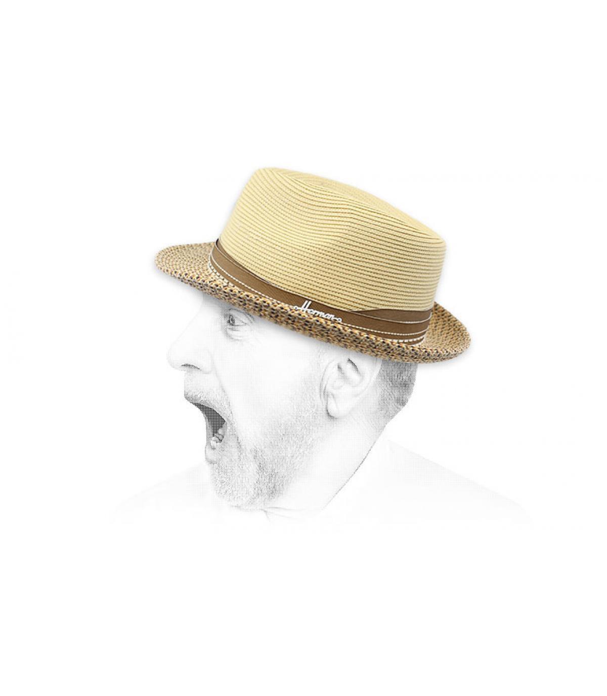 sombrero paja beis resistente agua