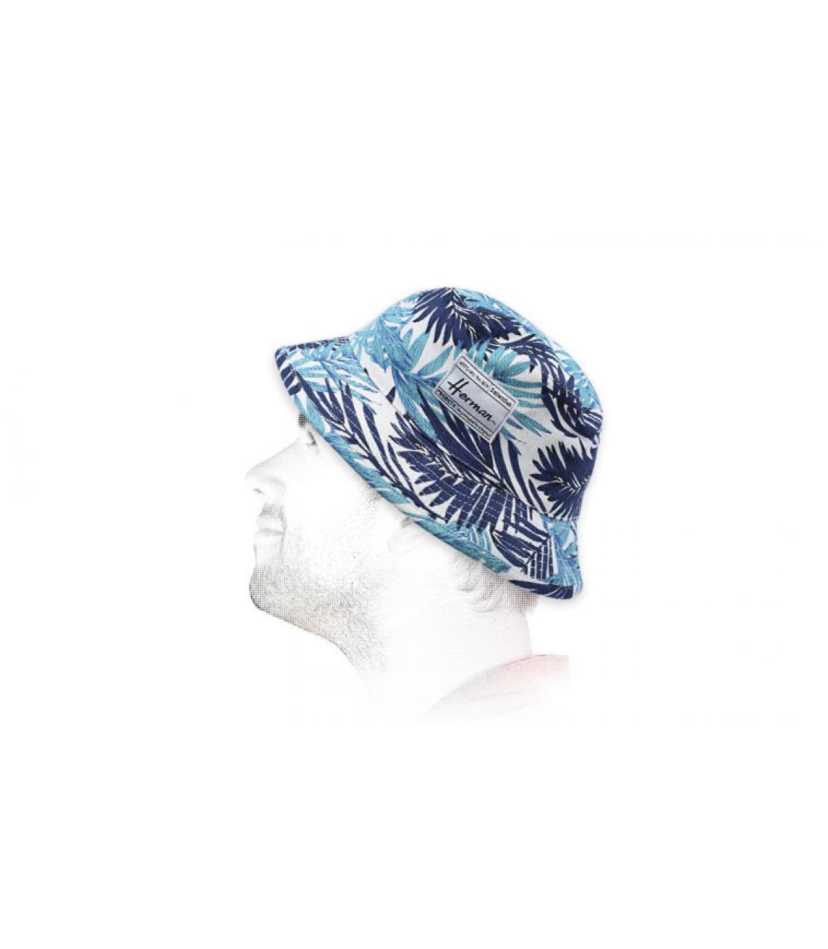gorro pescador hojas azul