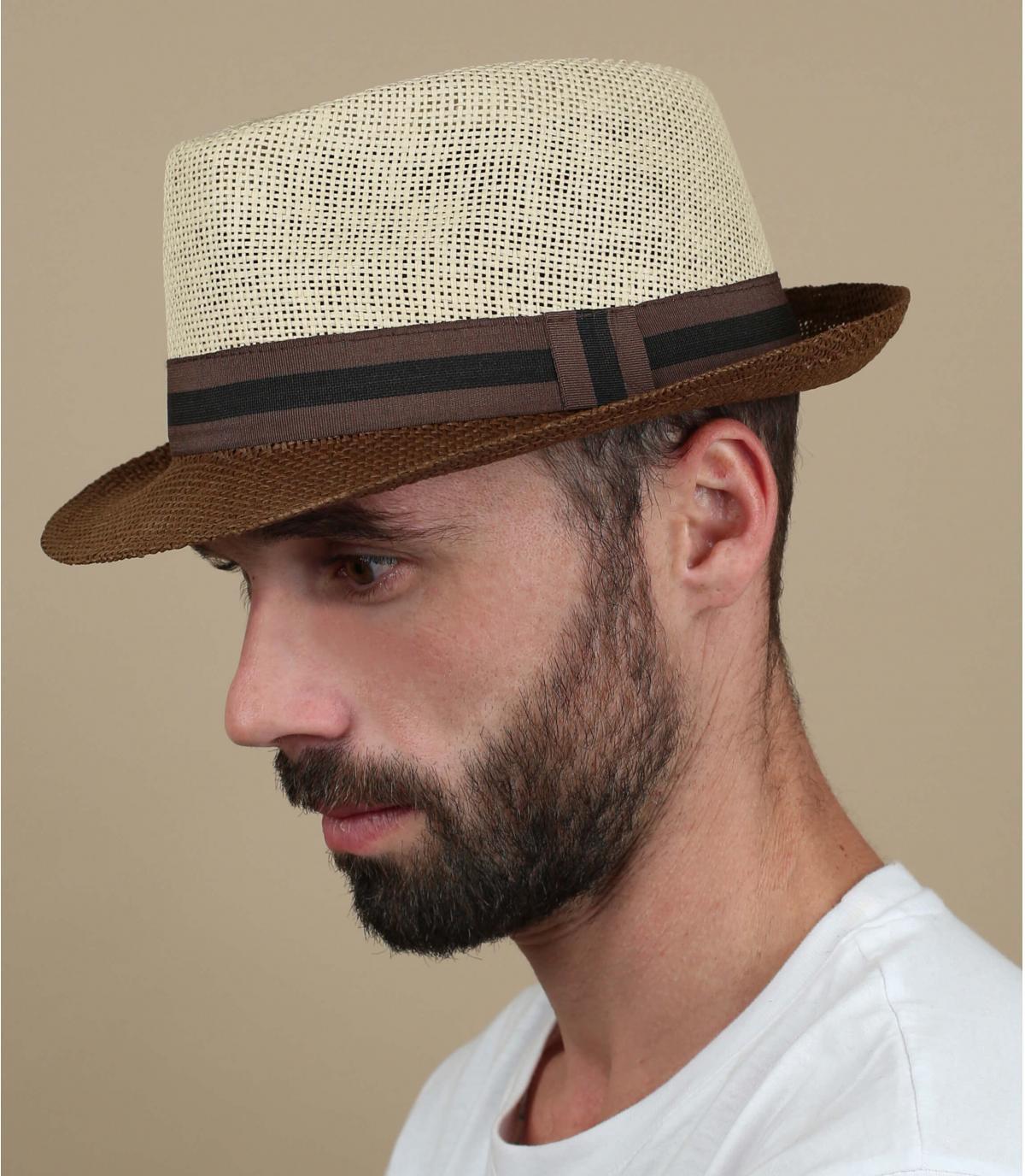 sombrero paja beis marrón