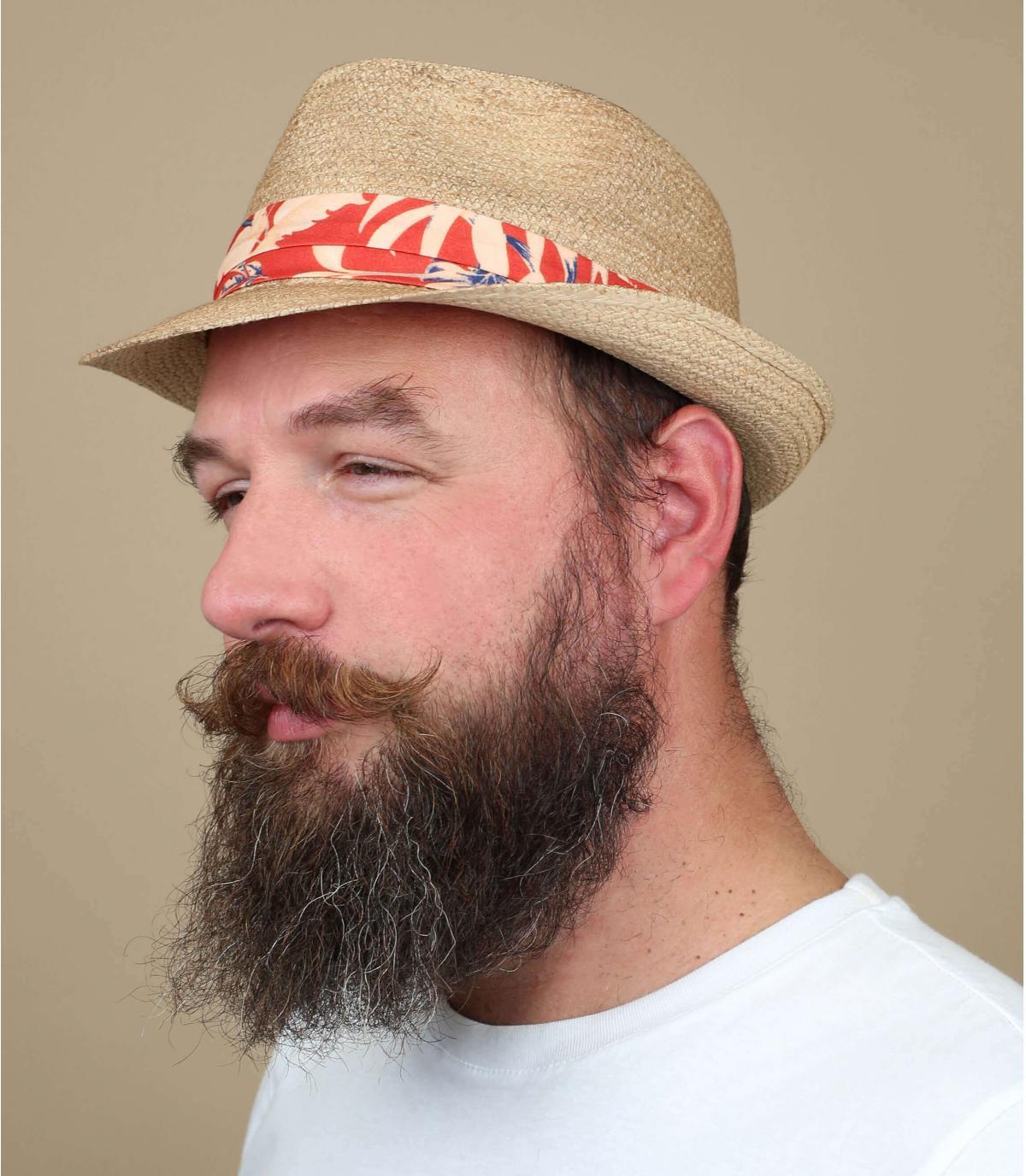 sombrero paja cinta naranja
