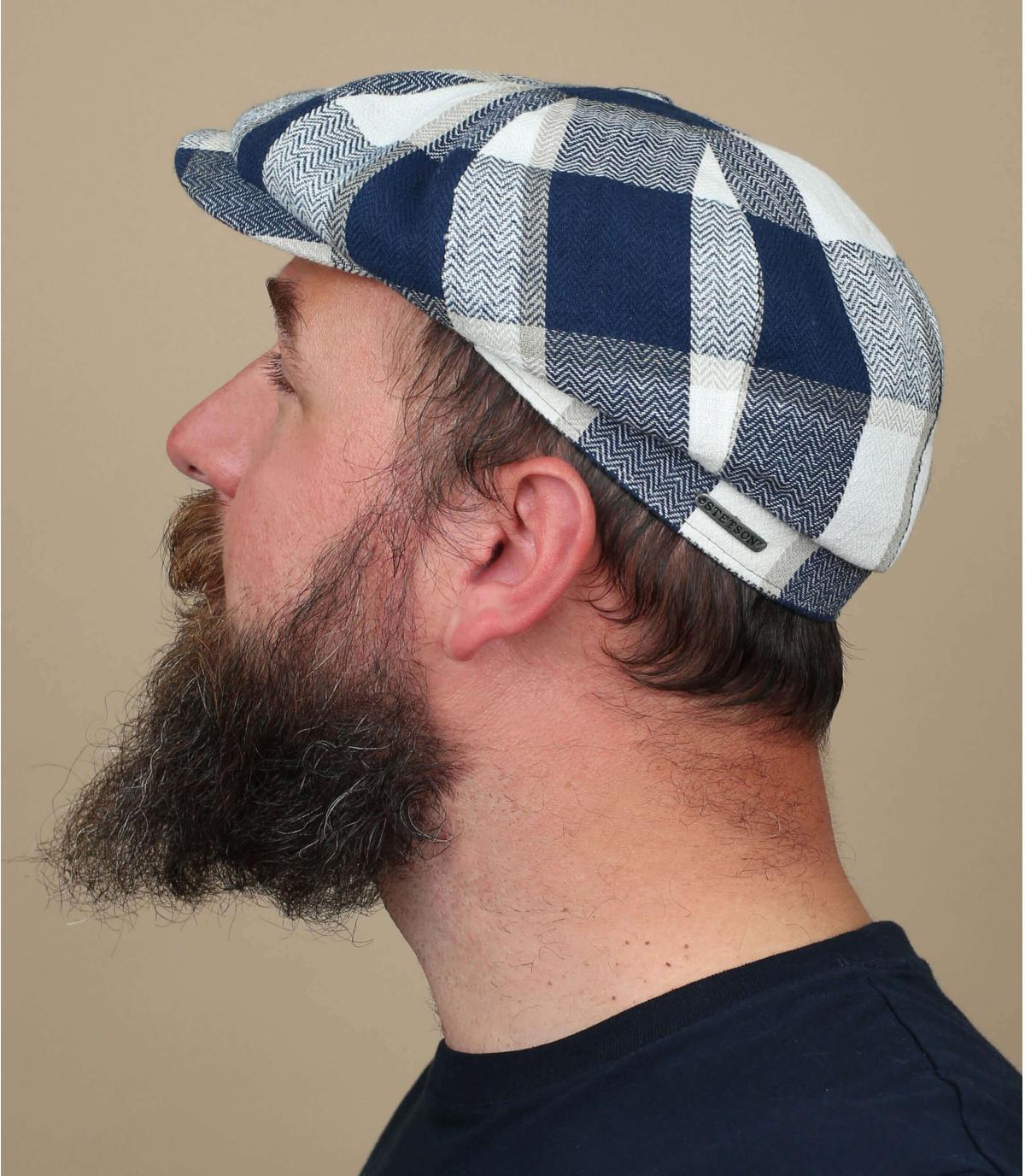 gorra cuadros azul blanco