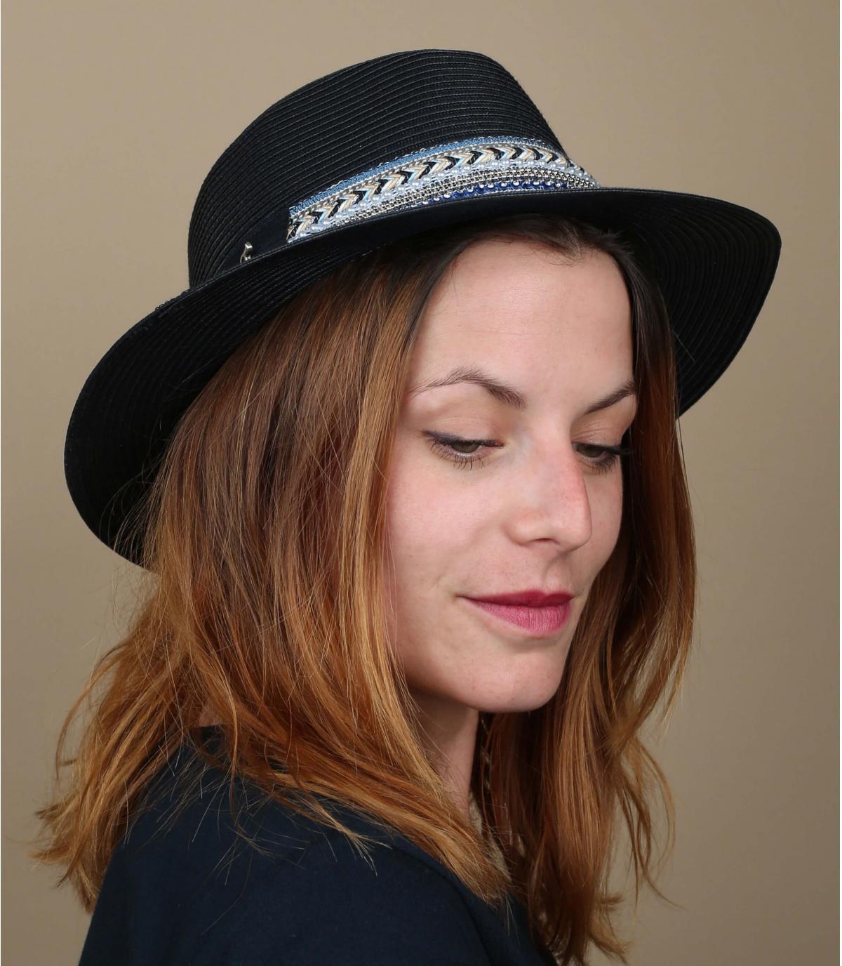 sombrero paja azul marino