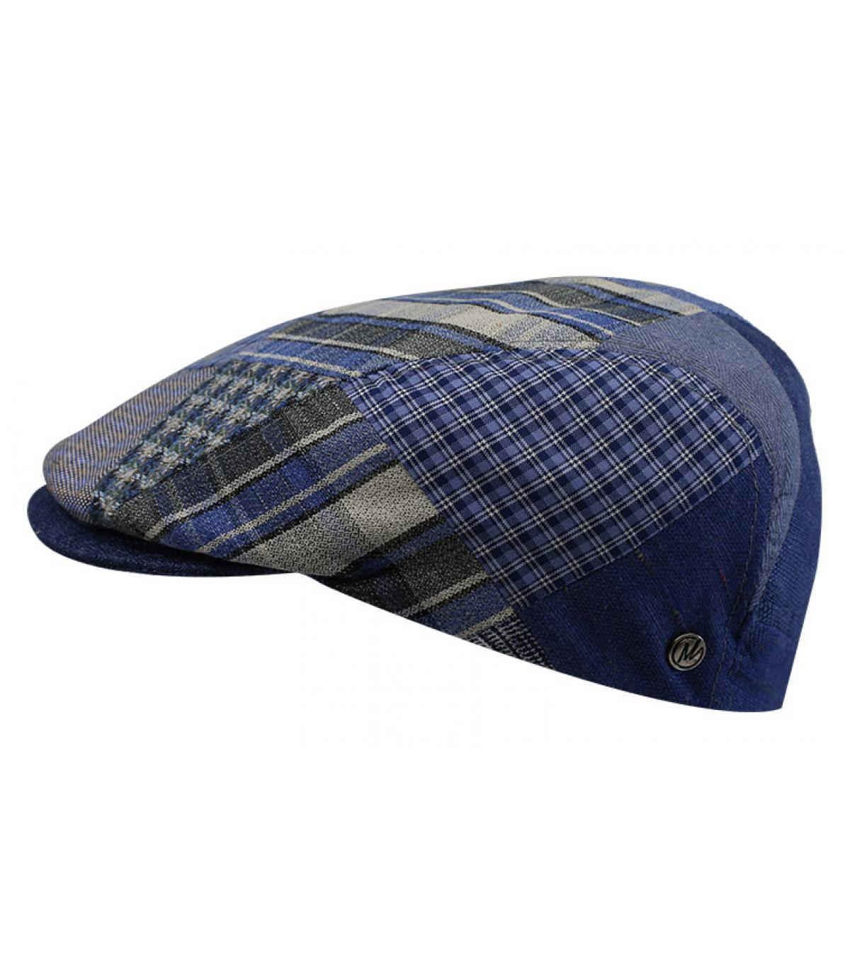gorra lino azul patchwork