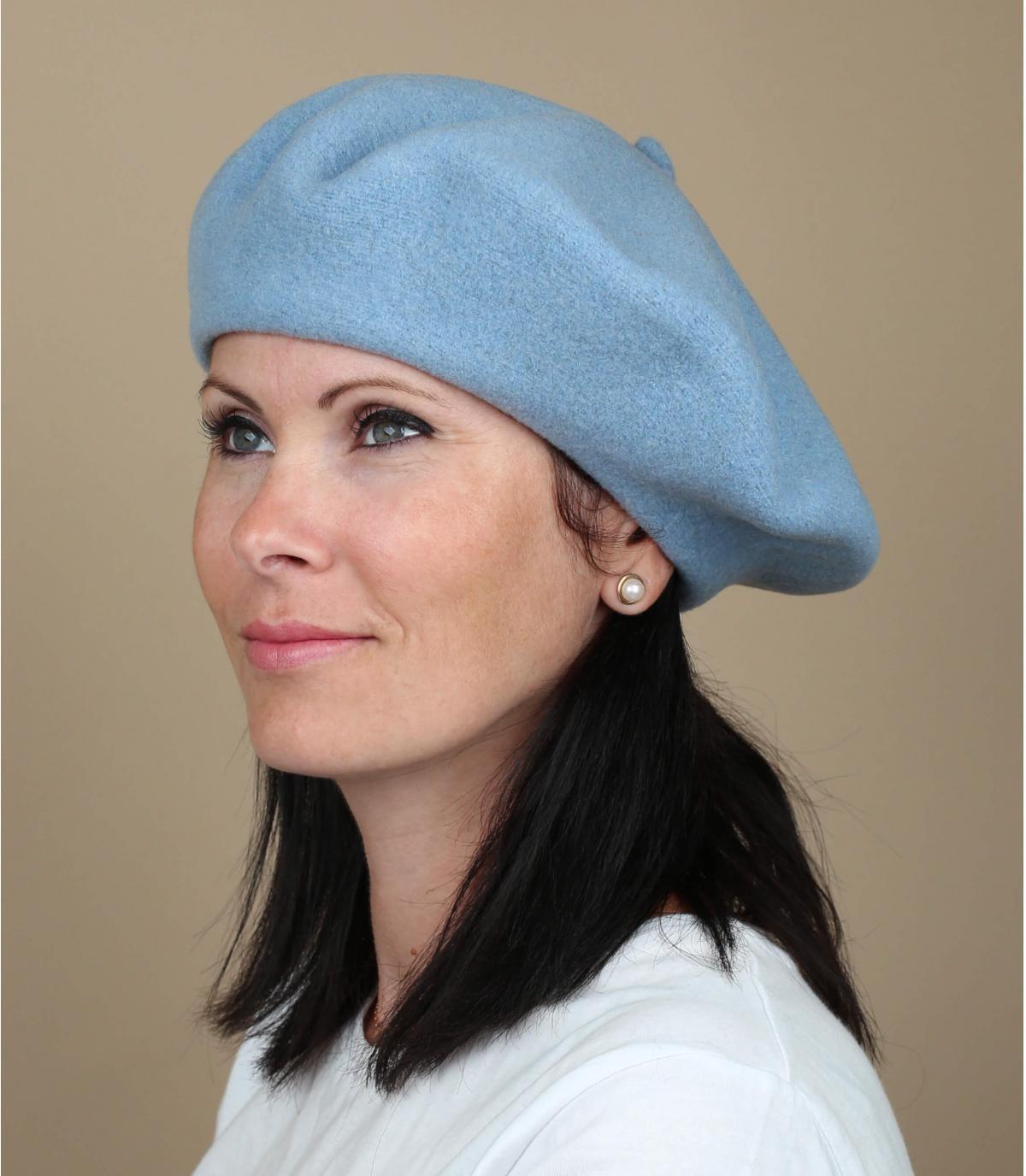 Gorro laine mujer azul