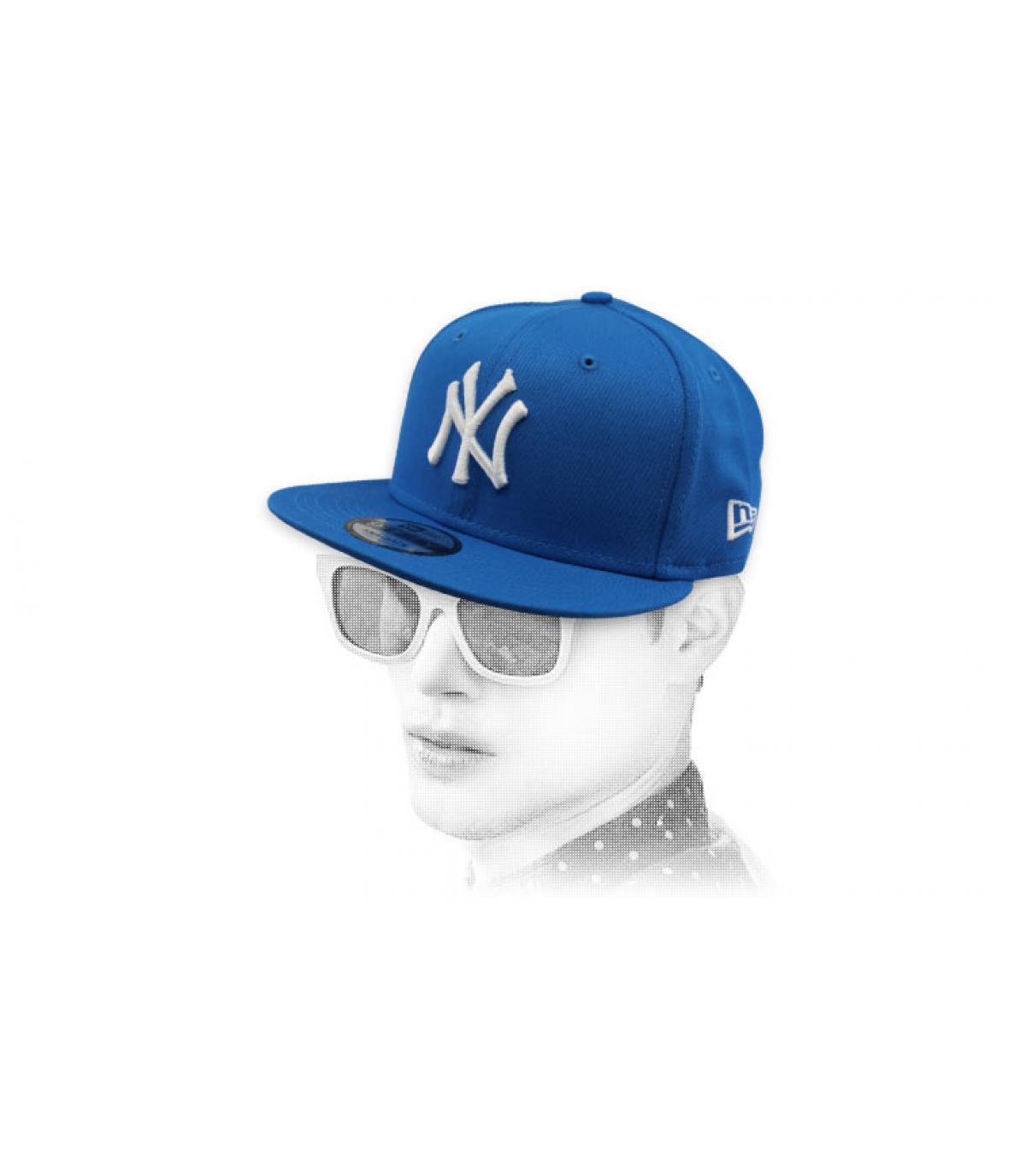 snapback NY azul blanco