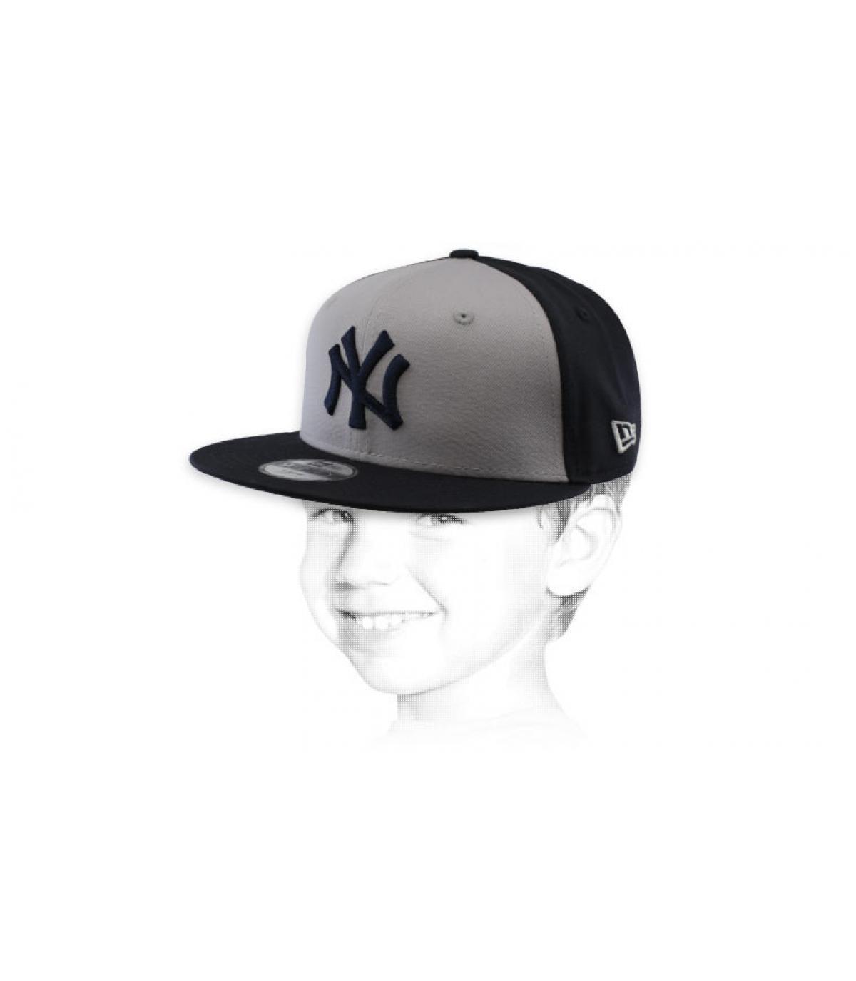 snapback NY niño gris negro