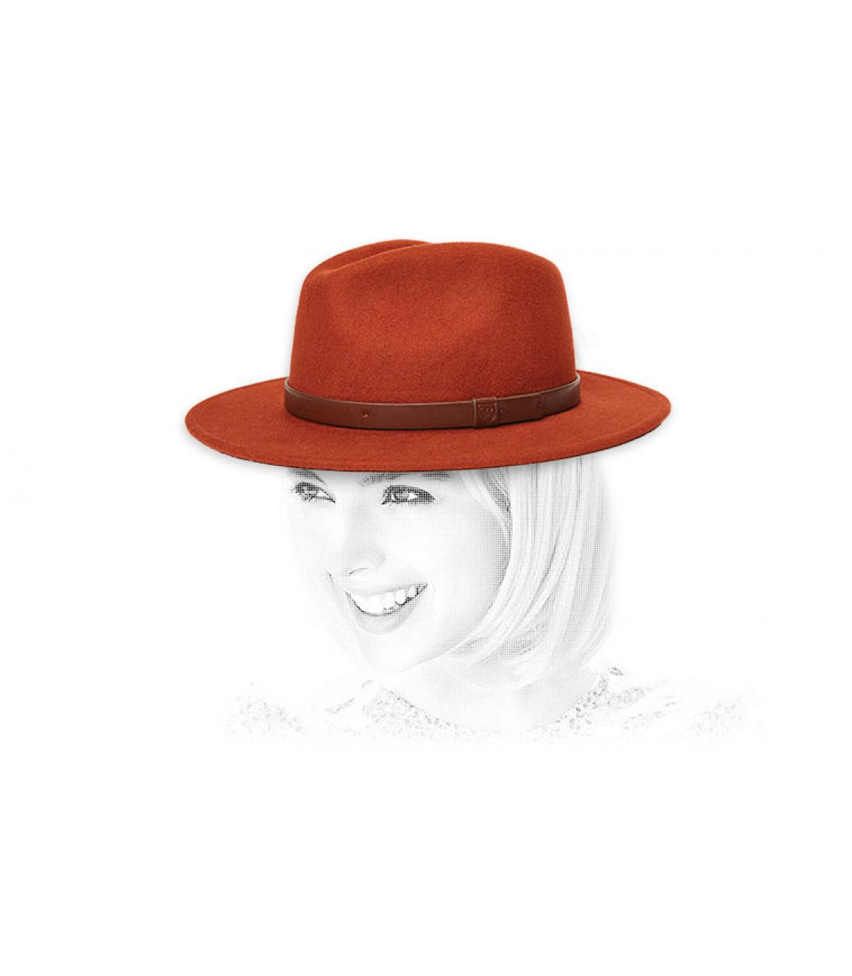 fedora mujer rojo