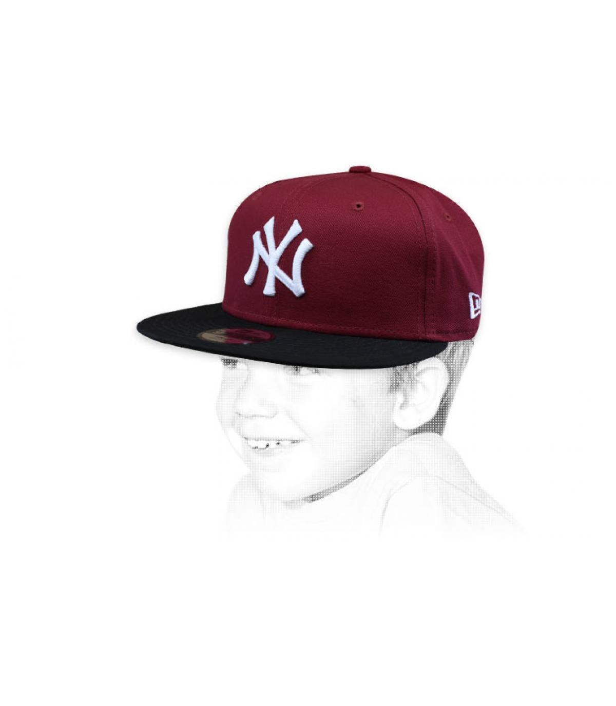gorra niño NY granate negro